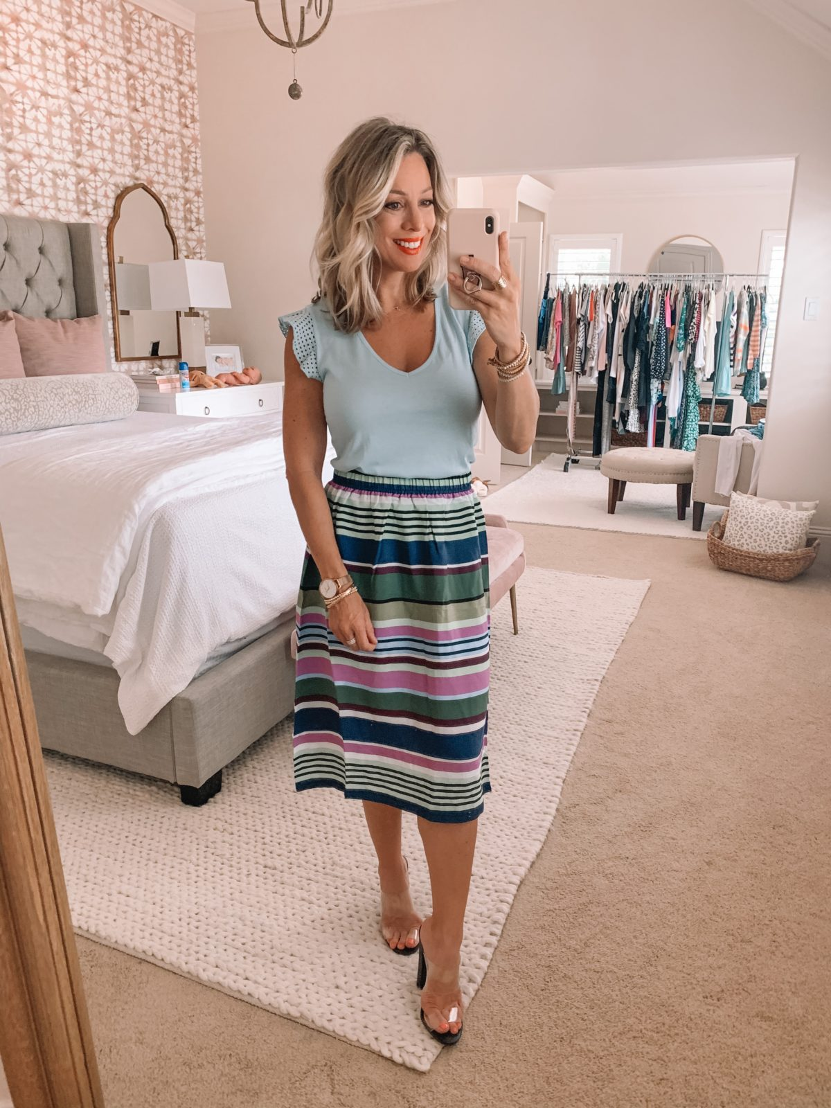 Striped skirt and ruffle sleeve top