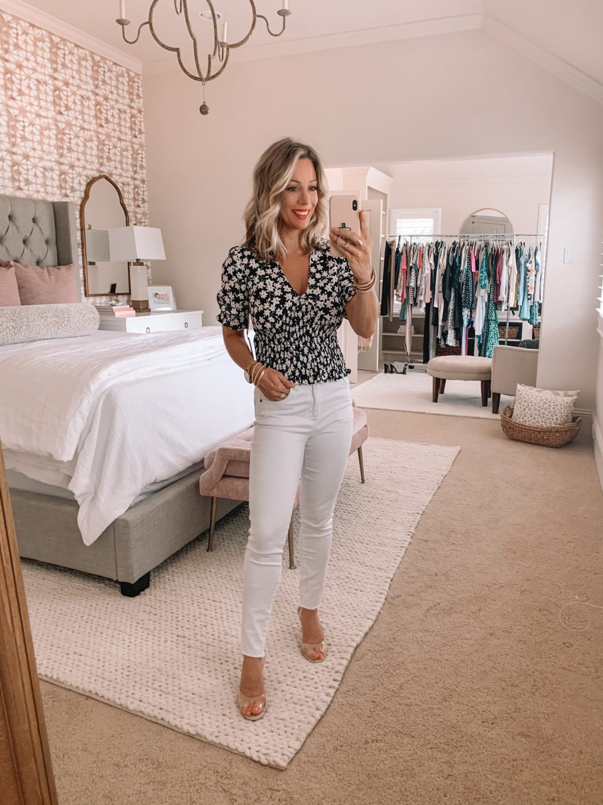 Summer Outfit - white jeans and smocked top