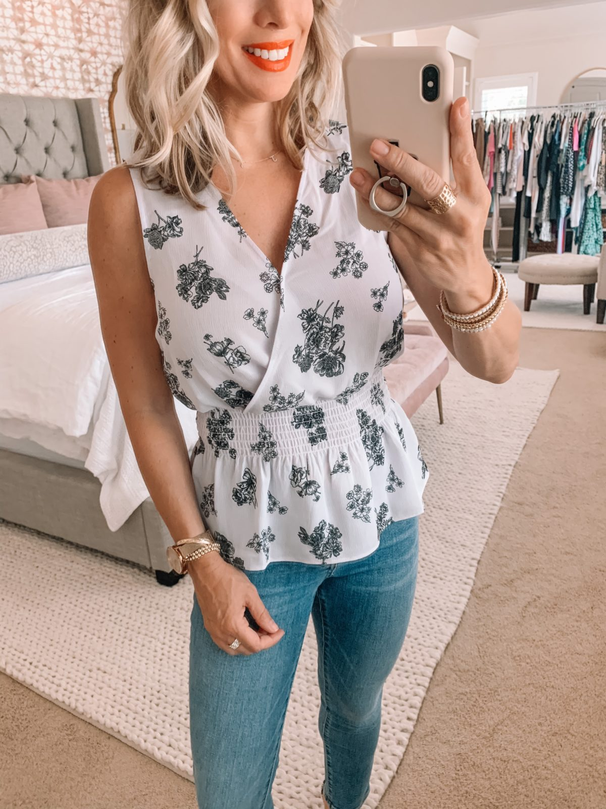floral peplum tank and jeans