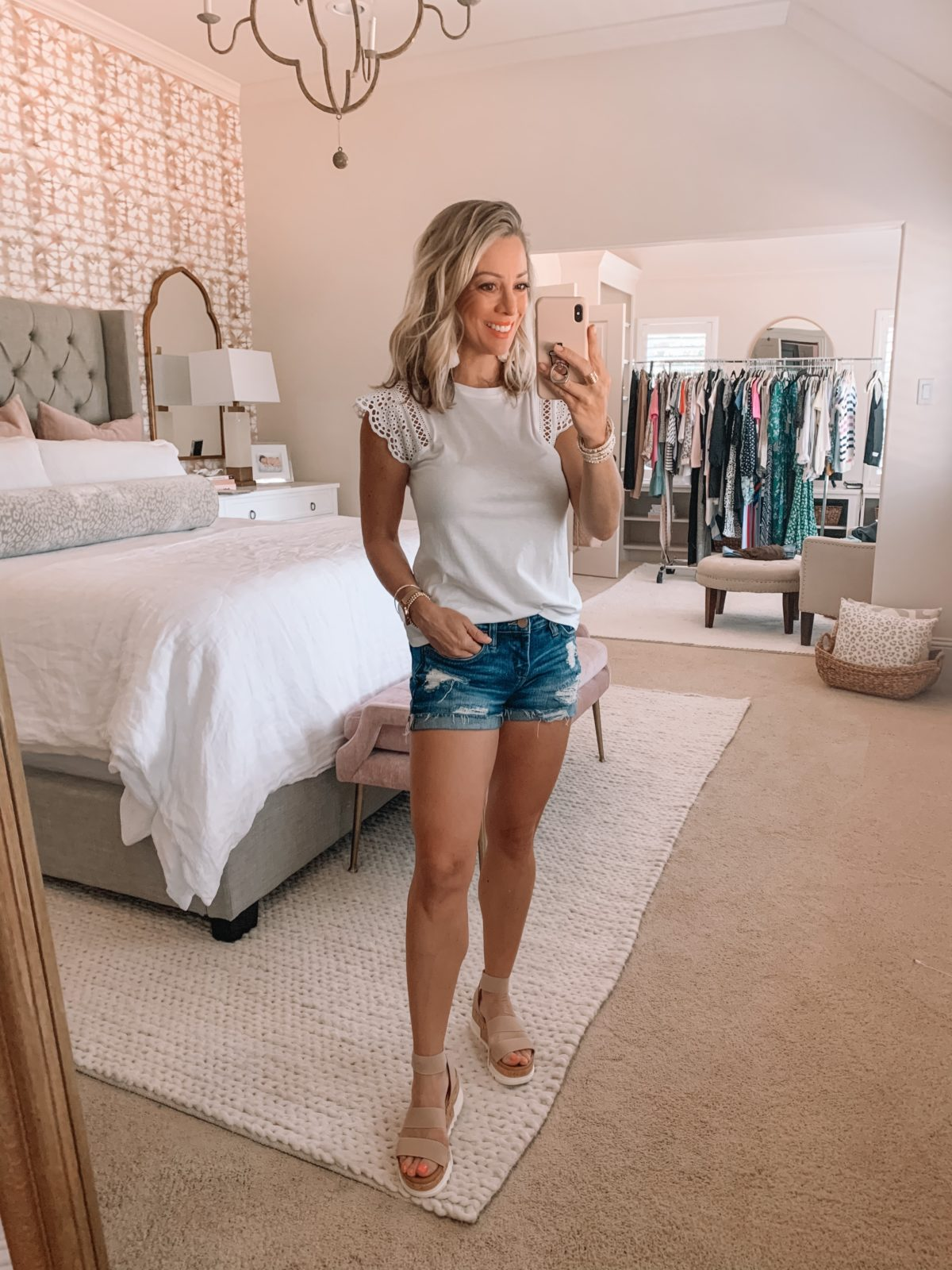 Summer outfit - jean shorts and white tee