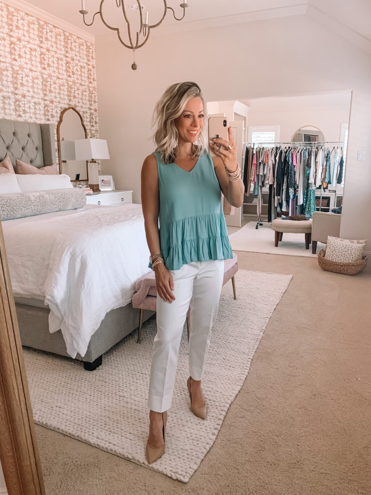 Work wear white pants and peplum tank