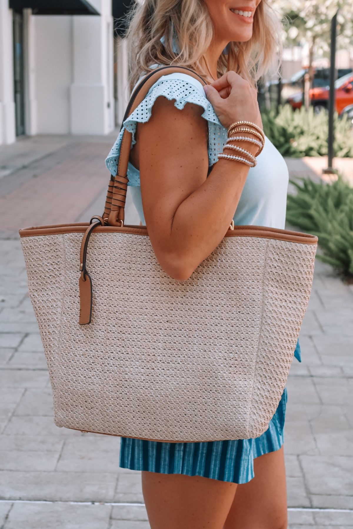 Eyelet Sleeve Top, Blue Stripe Tie Waist Shorts, Sole Society Woven Tote Bag, Sandals