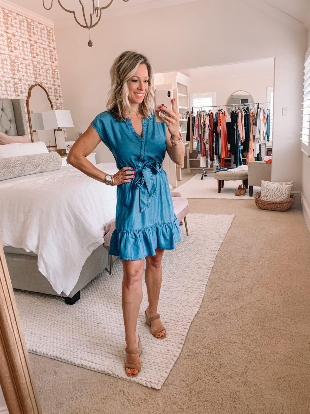Dressing Room Finds Nordstrom and Target, Denim Wrap Dress, Sandals
