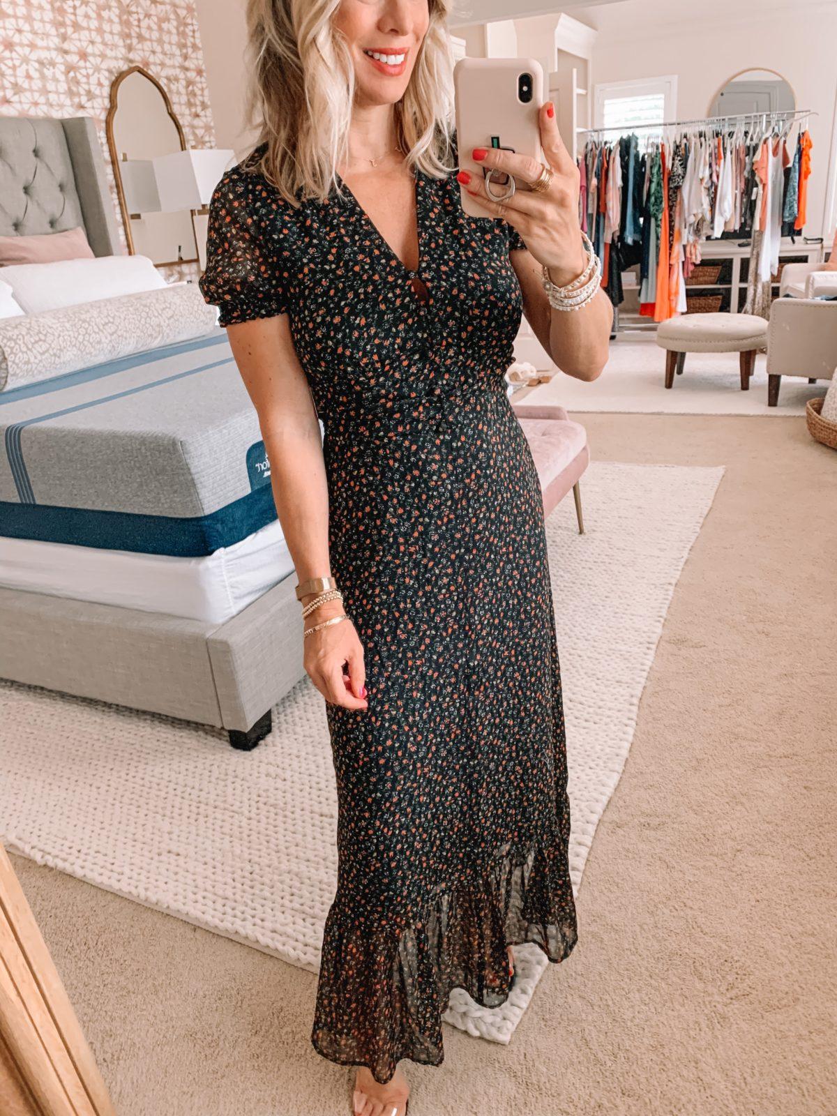 Dressing Room Finds Nordstrom and Target, Short Sleeve Black Floral Dress, Clear Heels