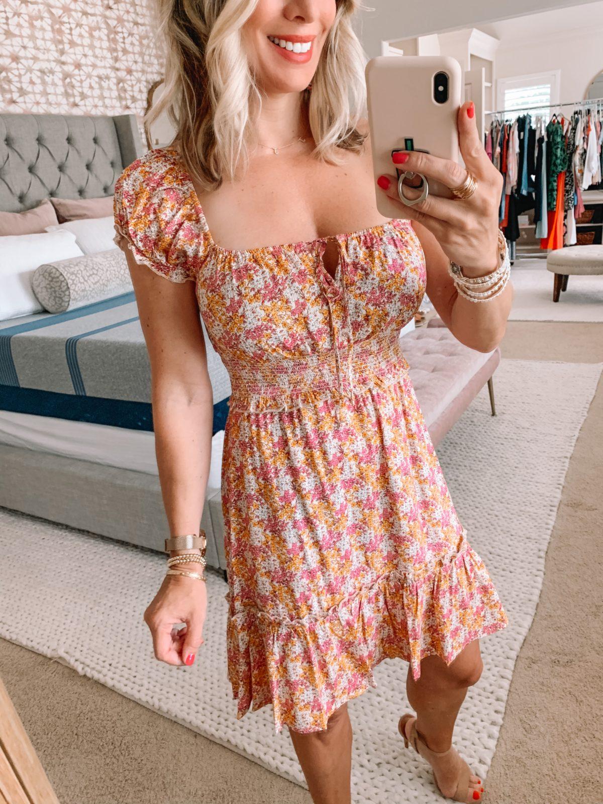 Dressing Room Finds Nordstrom and Target, Smocked Mini Dress, Nude Heels