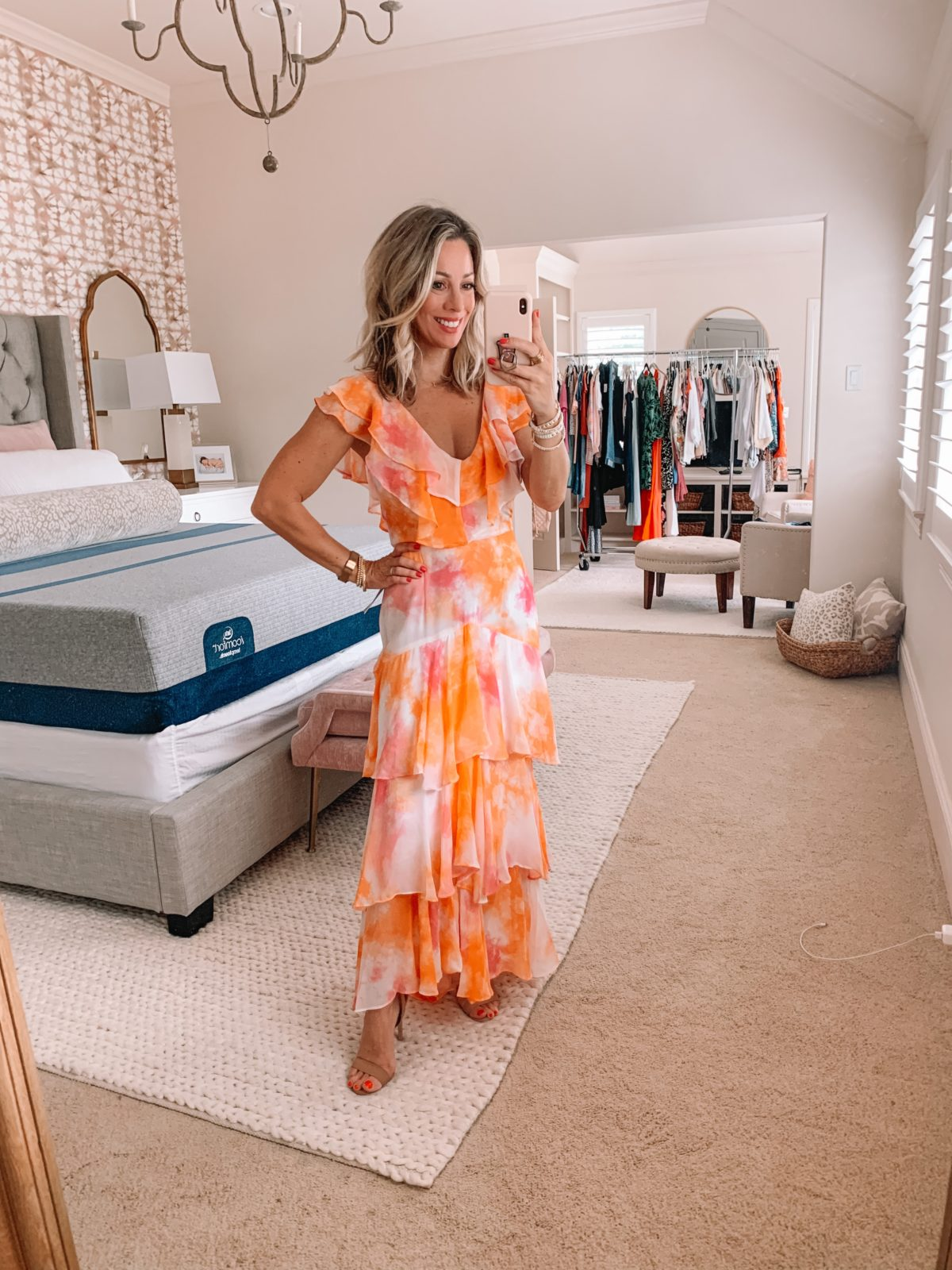 Dressing Room Finds Nordstrom and Target, Orange Water Color Tiered Maxi Dress, Nude Heels