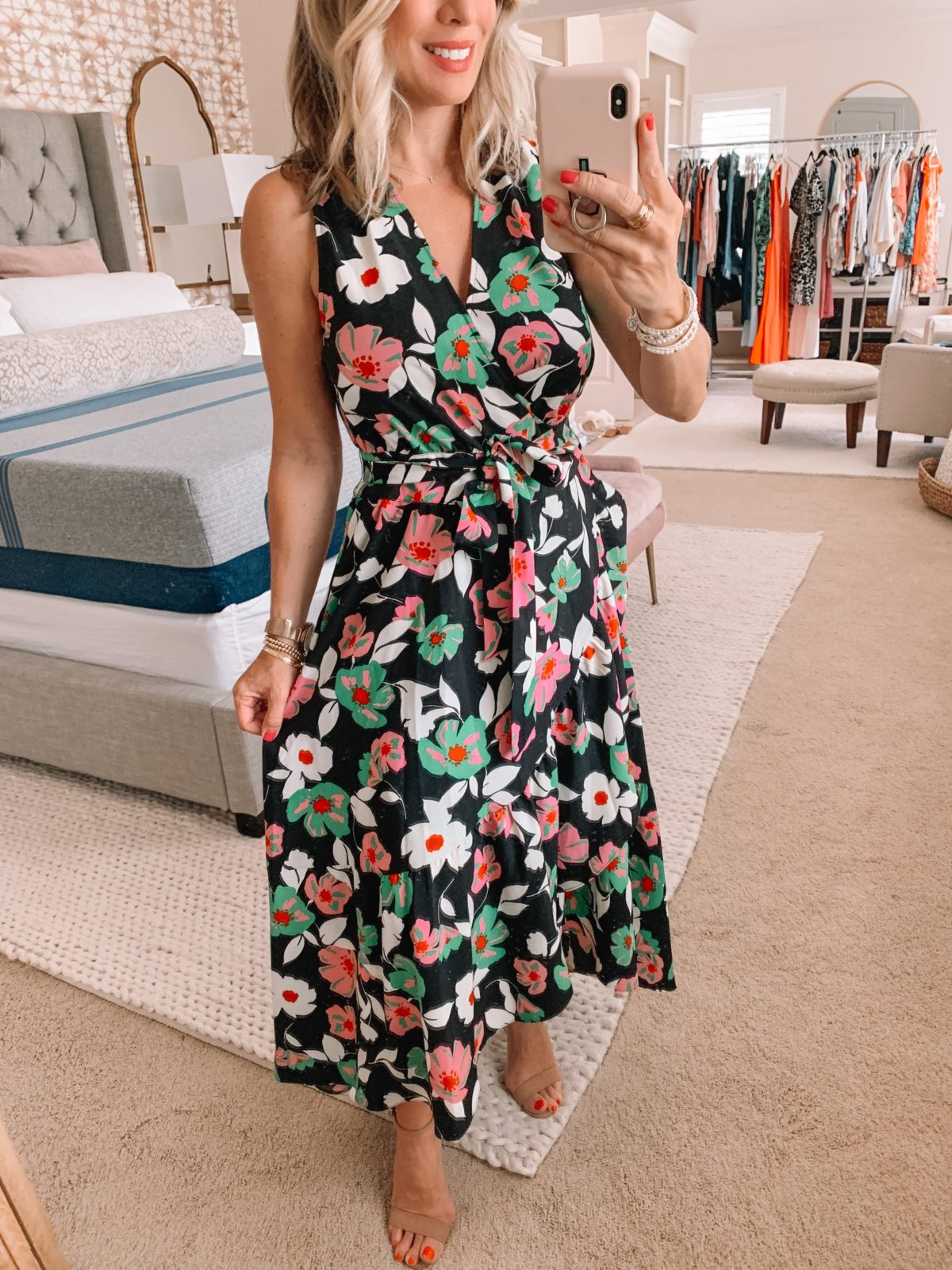 Dressing Room Finds Nordstrom and Target, Black Floral Wrap Dress, Nude Heels