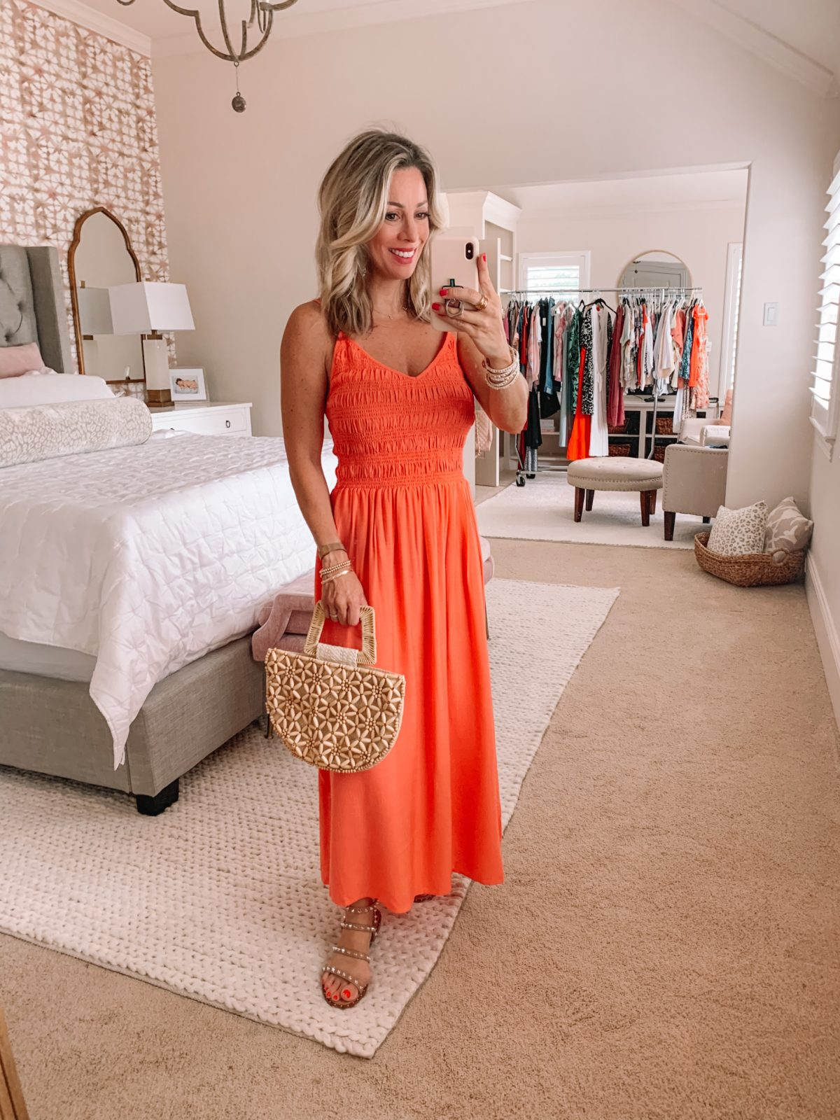 Dressing Room Finds Nordstrom and Target, Smocked Top Maxi Dress, Studded Sandals