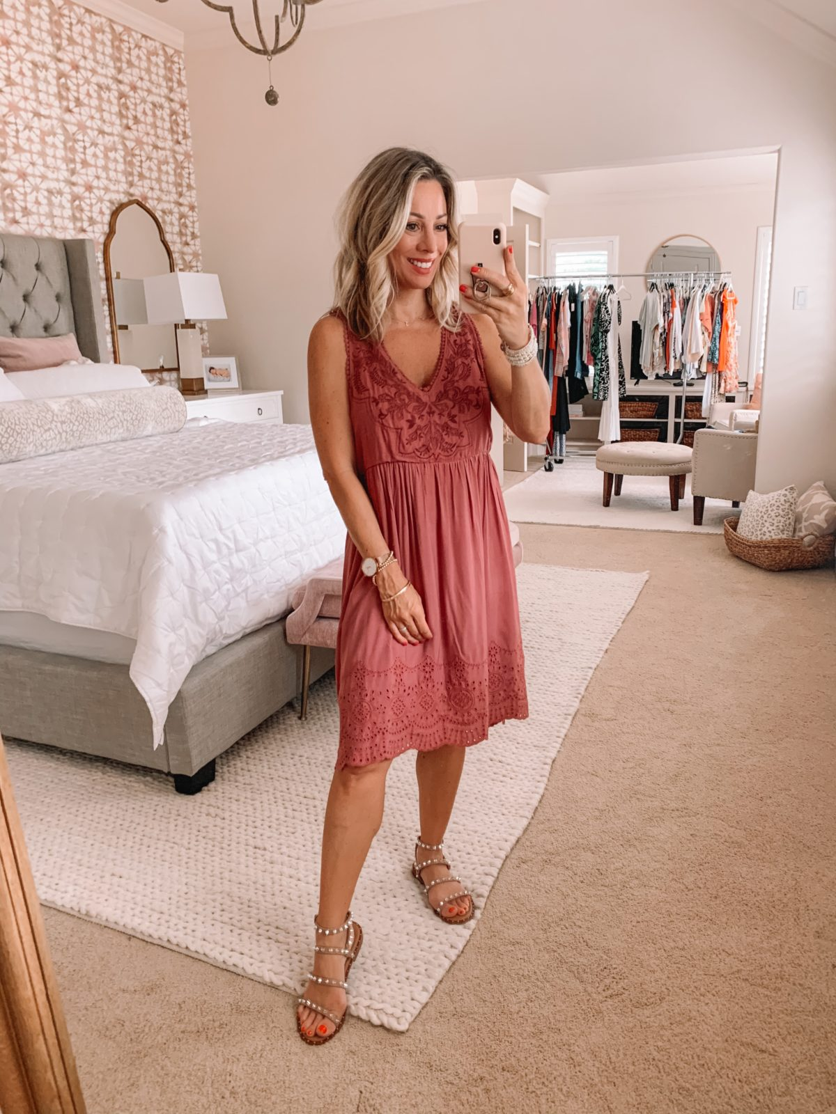 Dressing Room Finds Nordstrom and Target, V-Neck Embroidered Dress, Studded Sandals