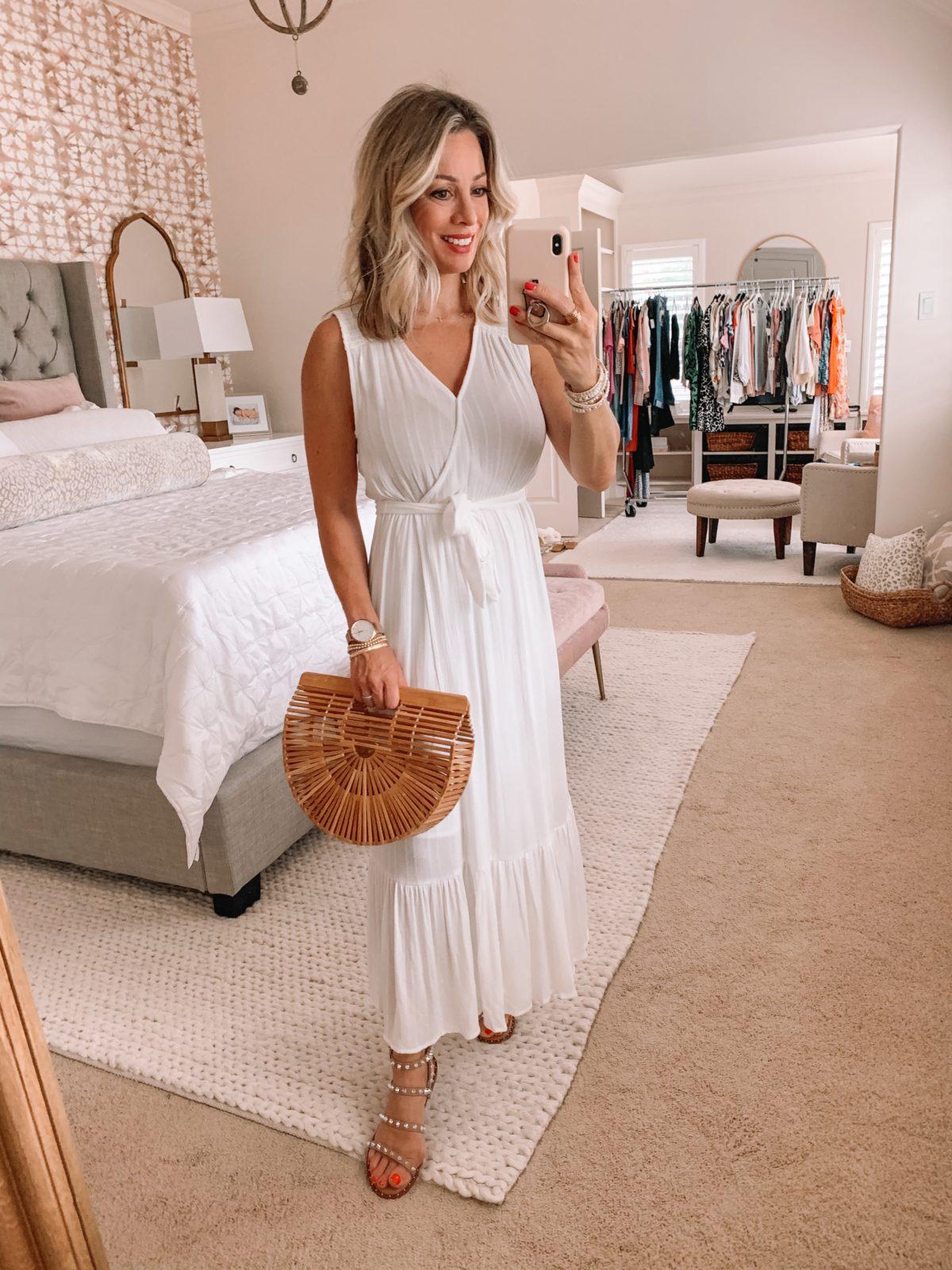 Dressing Room Finds Nordstrom and Target, Studded Sandals, Wood Clutch Bag