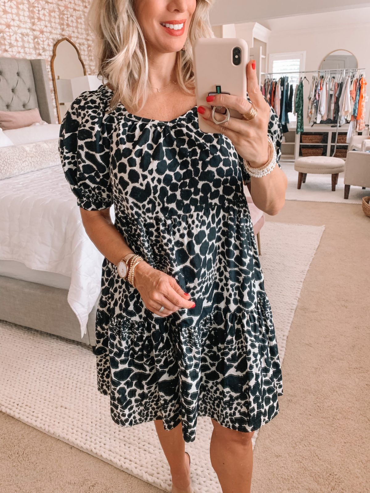 Dressing Room Finds Nordstrom and Target, Leopard Shift Dress, Nude Heels