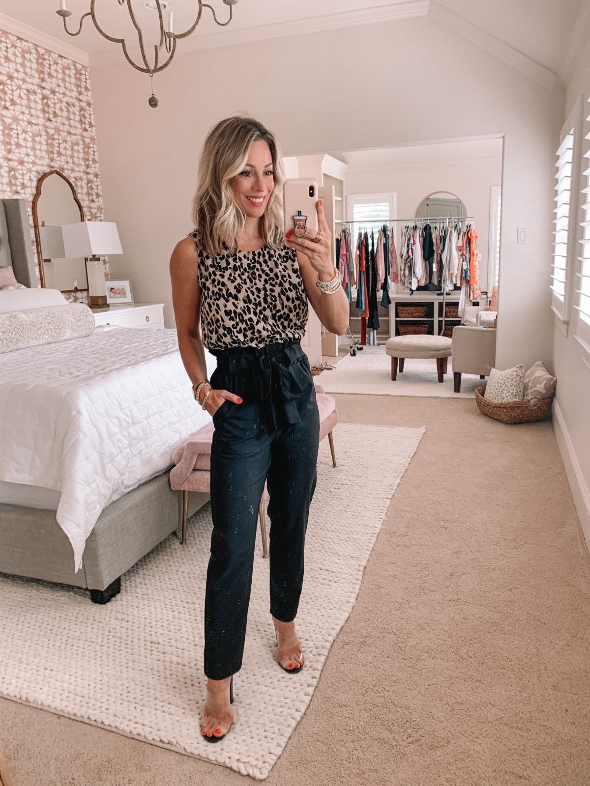 Dressing Room Finds Nordstrom and Target, Leopard Top, Paperbag Waist Pants, Clear Sandals
