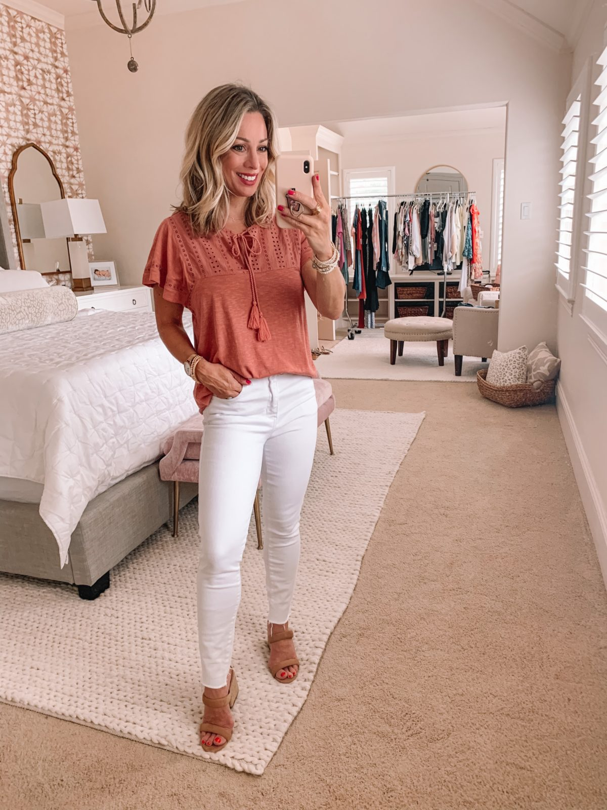 Dressing Room Finds Nordstrom and Target, Crochet Tee, Kut from Kloth Skinny White Jeans, Sandals