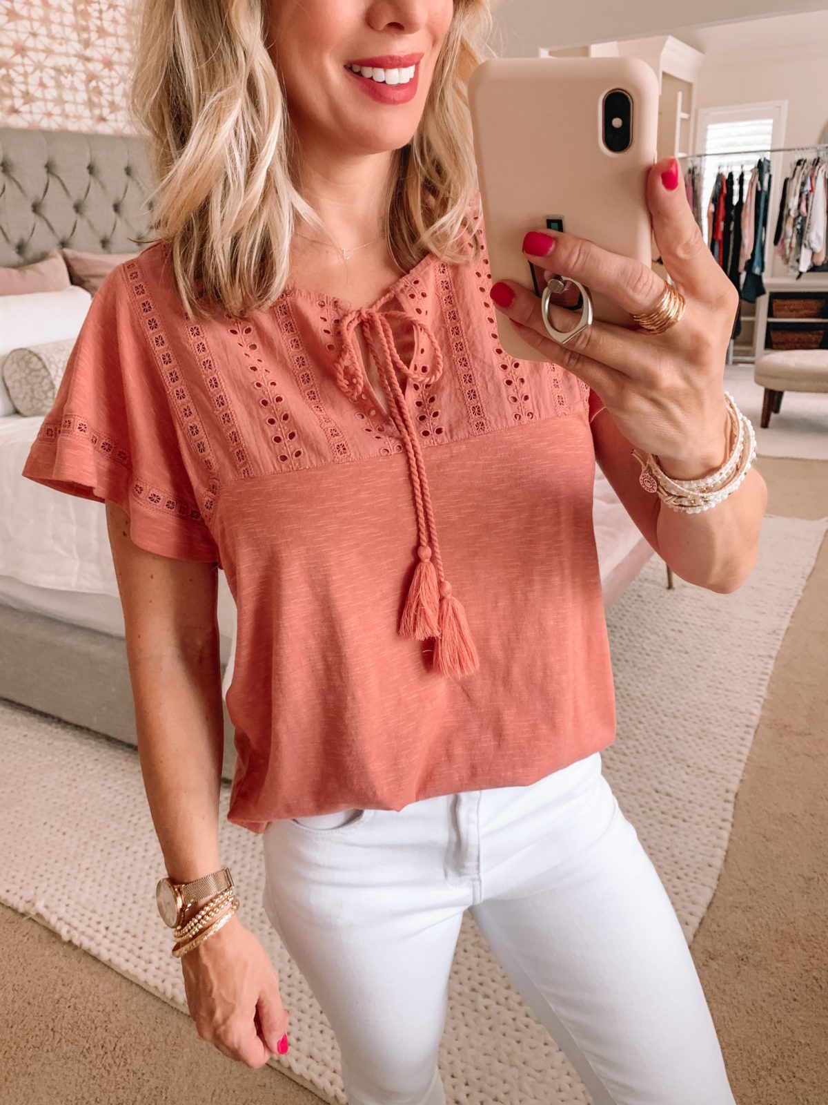 Dressing Room Finds Nordstrom and Target, Crochet Tee, Kut from Kloth Skinny White Jeans