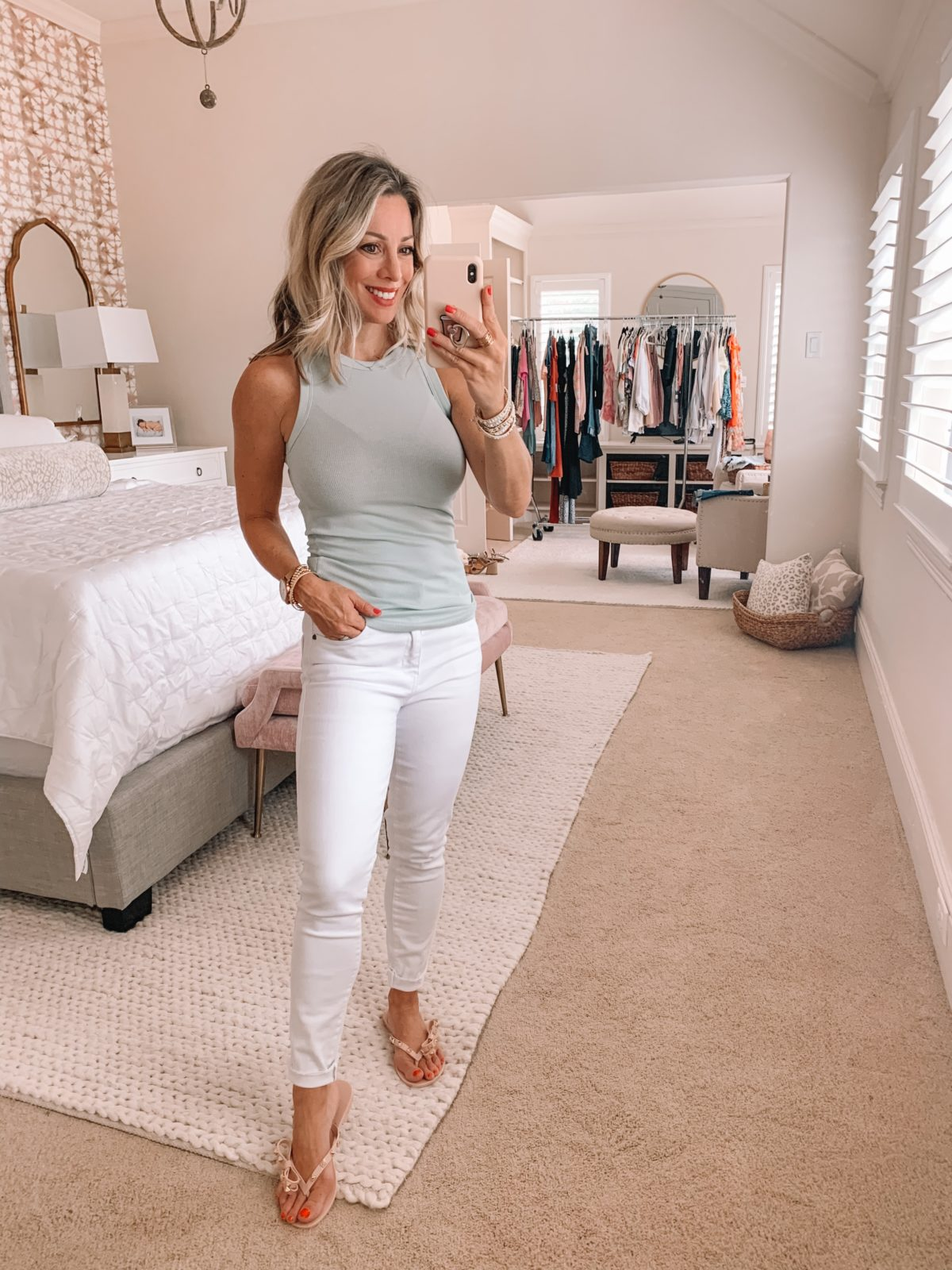 Dressing Room Finds Nordstrom and Target, Mint Tank, White Jeans, Studded Bow Sandals