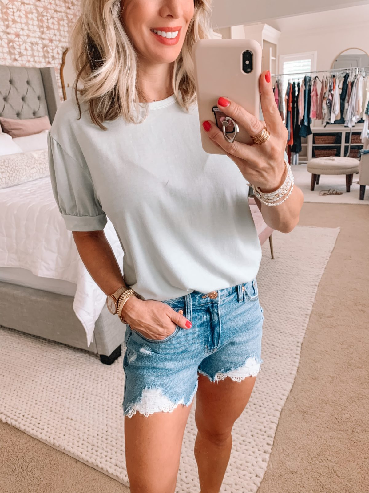 Dressing Room Finds Nordstrom and Target, Puff Sleeve Tee, Crochet Hemmed Denim Shorts