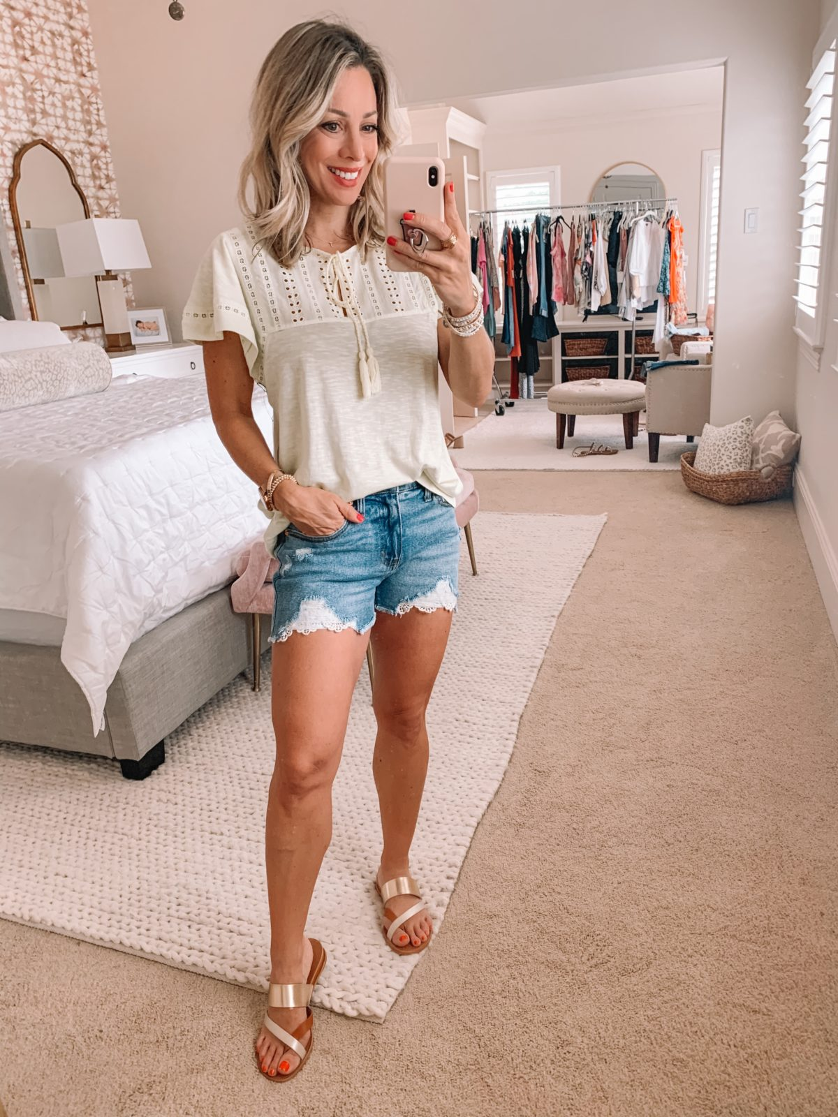 Dressing Room Finds Nordstrom and Target, Embroidered Ruffle Sleeve Top, Crochet Hemmed Denim Shorts, Studded Sandals