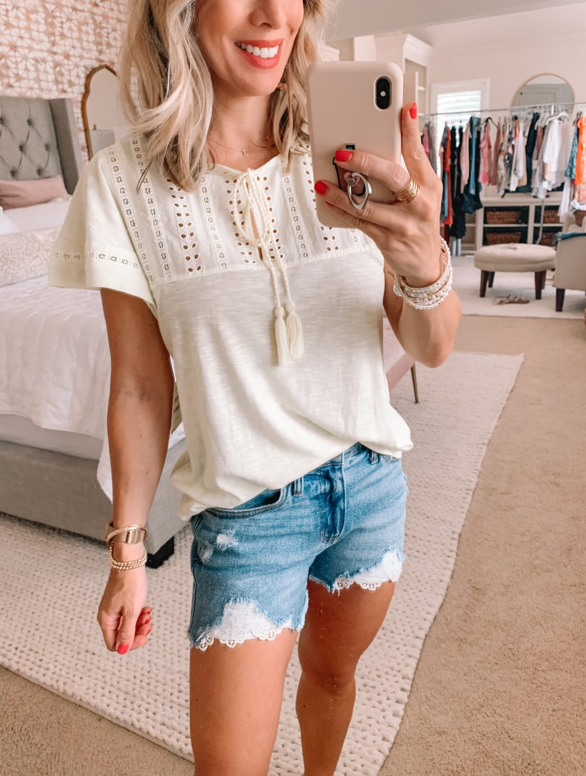 Dressing Room Finds Nordstrom and Target, Embroidered Ruffle Sleeve Top, Crochet Hemmed Denim Shorts