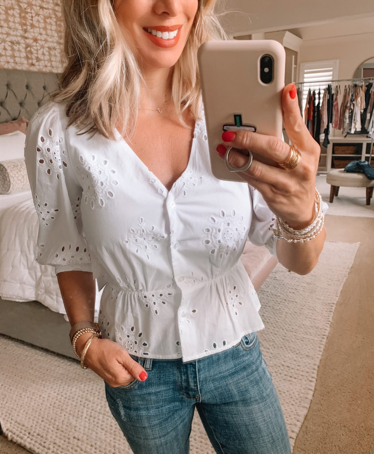 Dressing Room Finds Nordstrom and Target, White Eyelet Peplum Top, Kut from Kloth Jeans