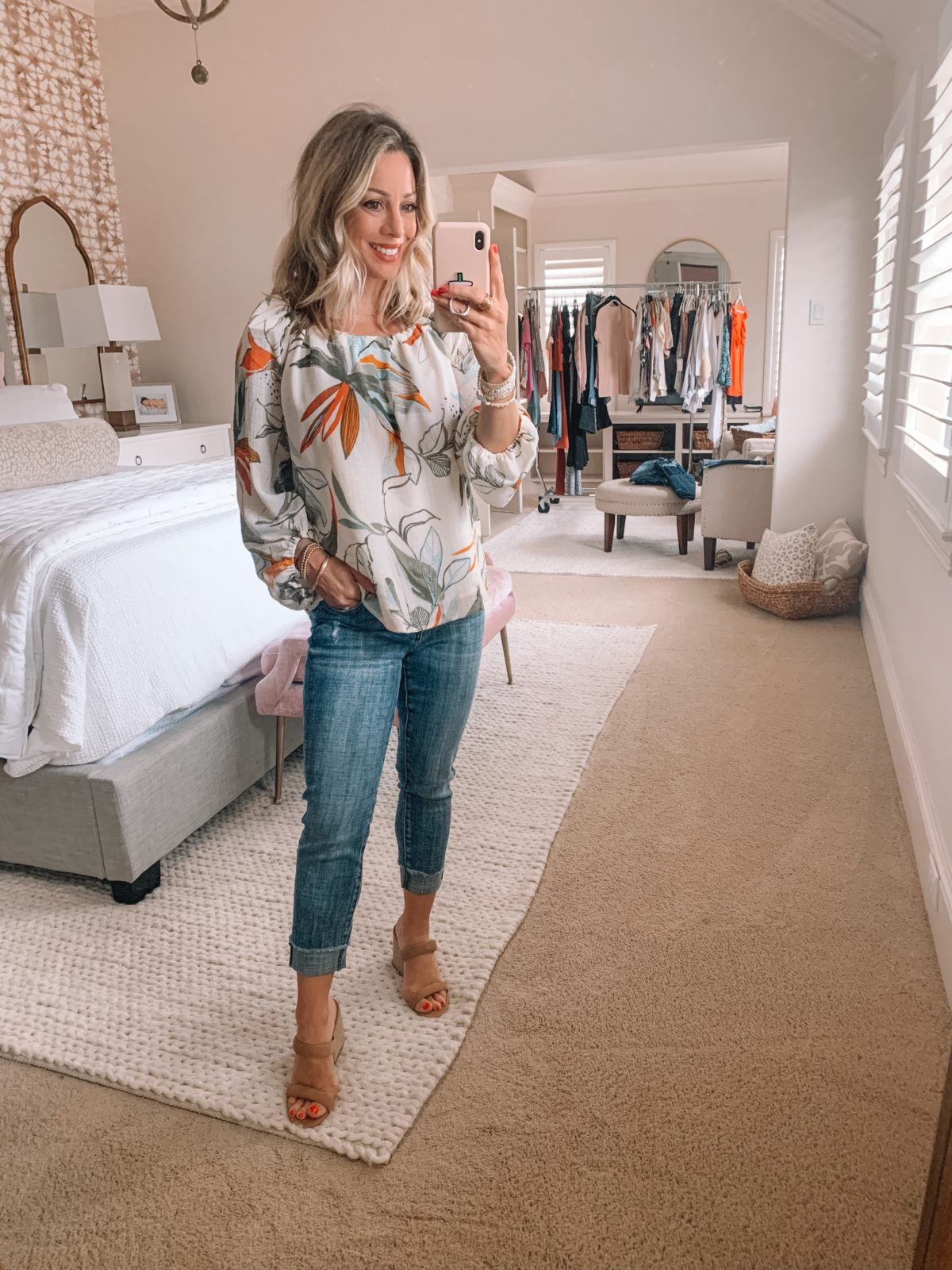 Dressing Room Finds Nordstrom and Target, Floral Boho Top, Jeans, Sandals