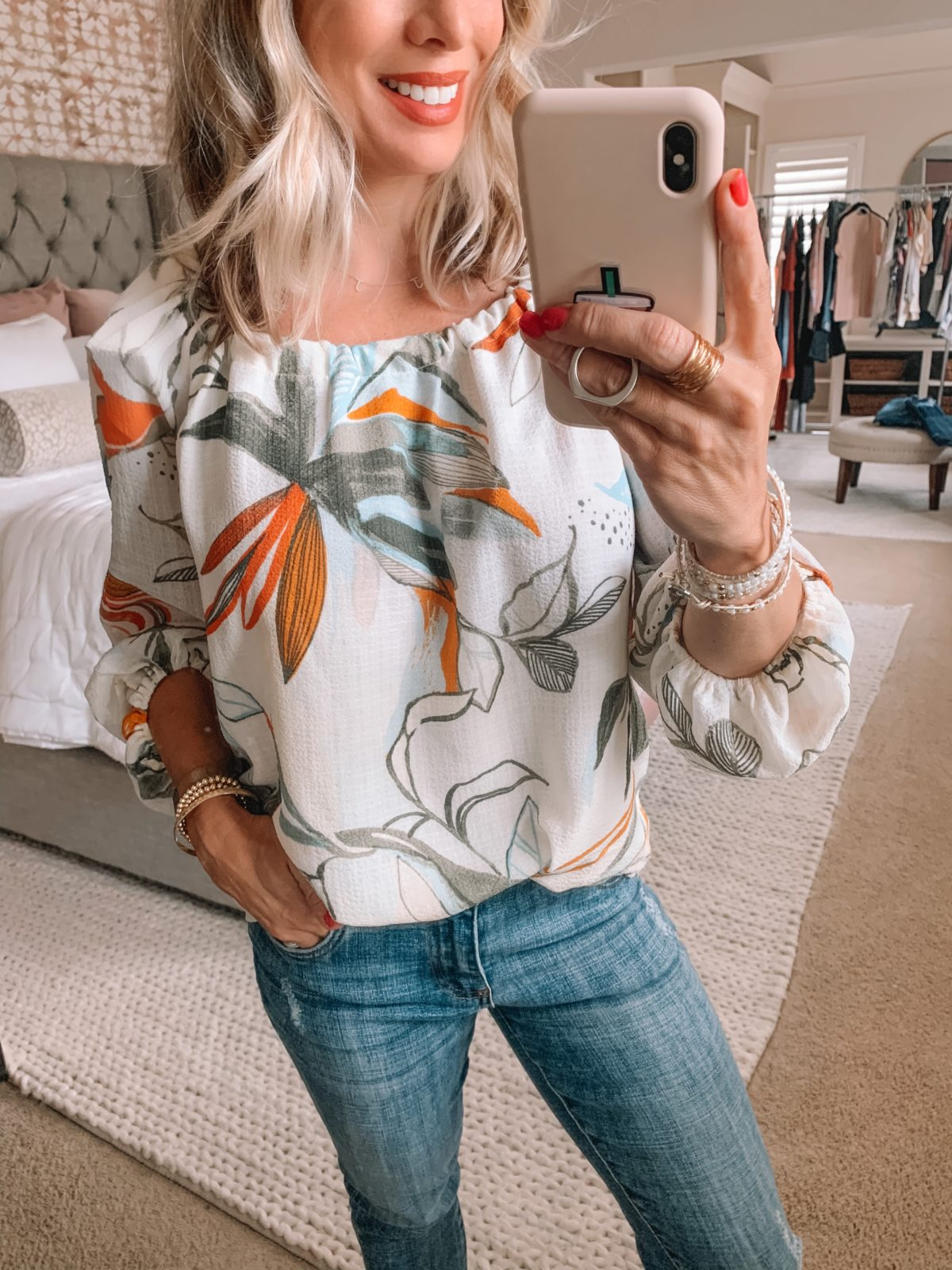 Dressing Room Finds Nordstrom and Target, Floral Boho Top, Jeans