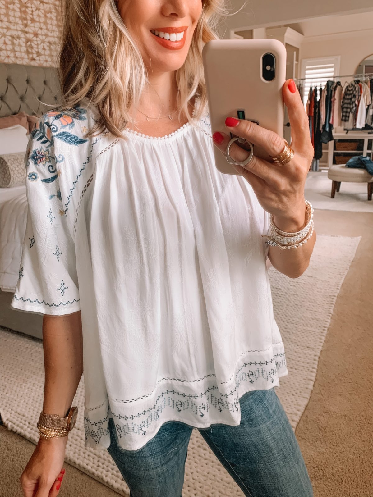 Dressing Room Finds Nordstrom and Target, White Baby Doll Top, Jeans