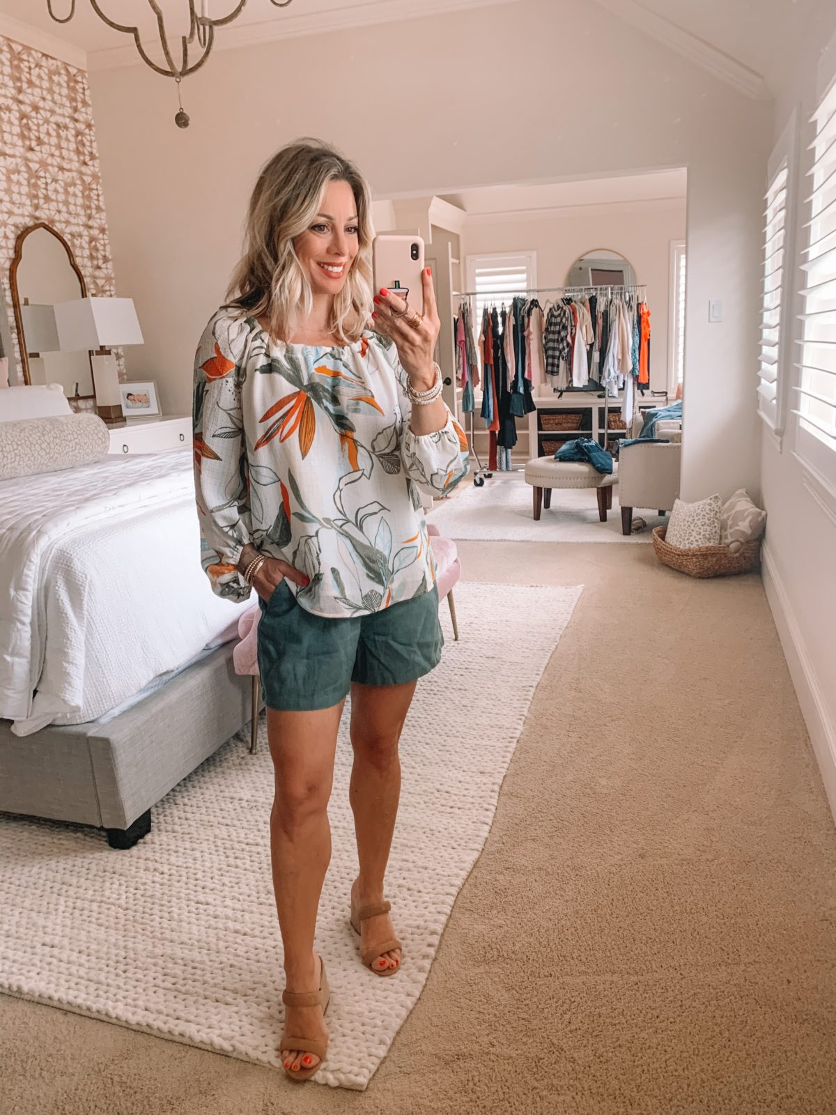 Dressing Room Finds Nordstrom and Target, Floral Boho Top, Linen Shorts, Sandals