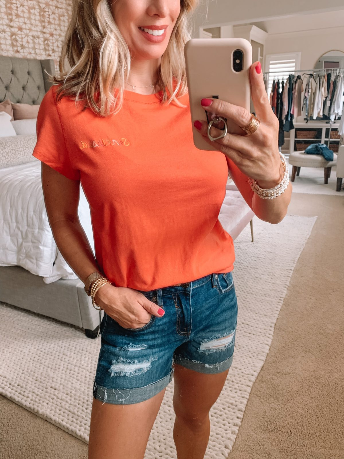 Dressing Room Finds Nordstrom and Target, Sunkissed Tee, Distressed Denim Shorts