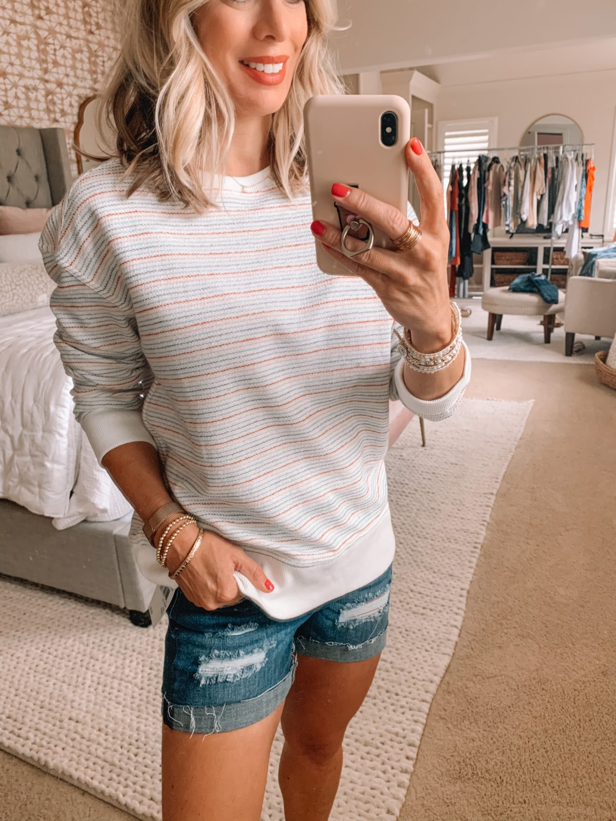 Dressing Room Finds Nordstrom and Target, Striped Sweatshirt, Denim Shorts, Criss Cross Slides