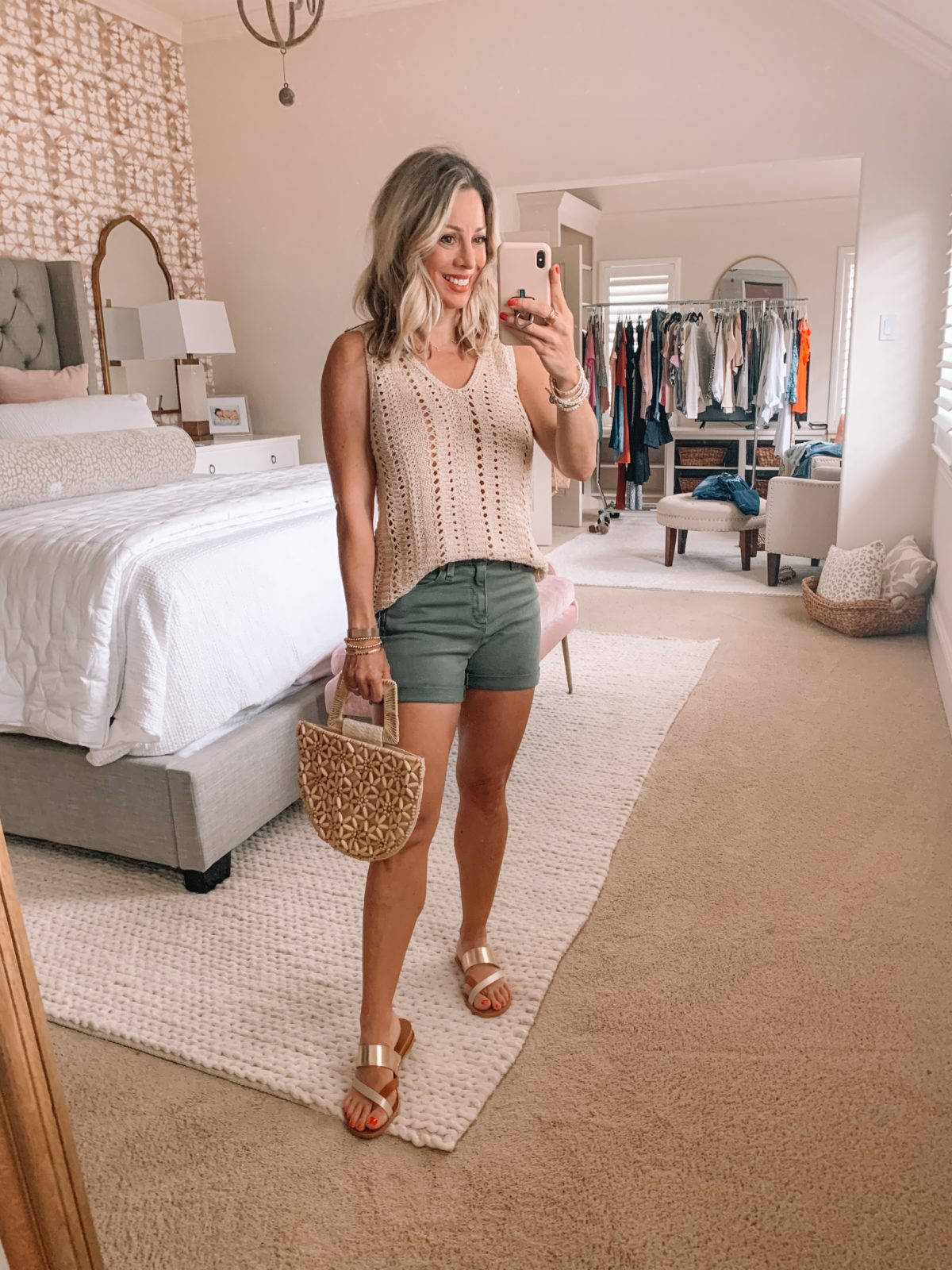 Dressing Room Finds Nordstrom and Target, Olive Denim Shorts, Gold Sandals, Beaded Bag