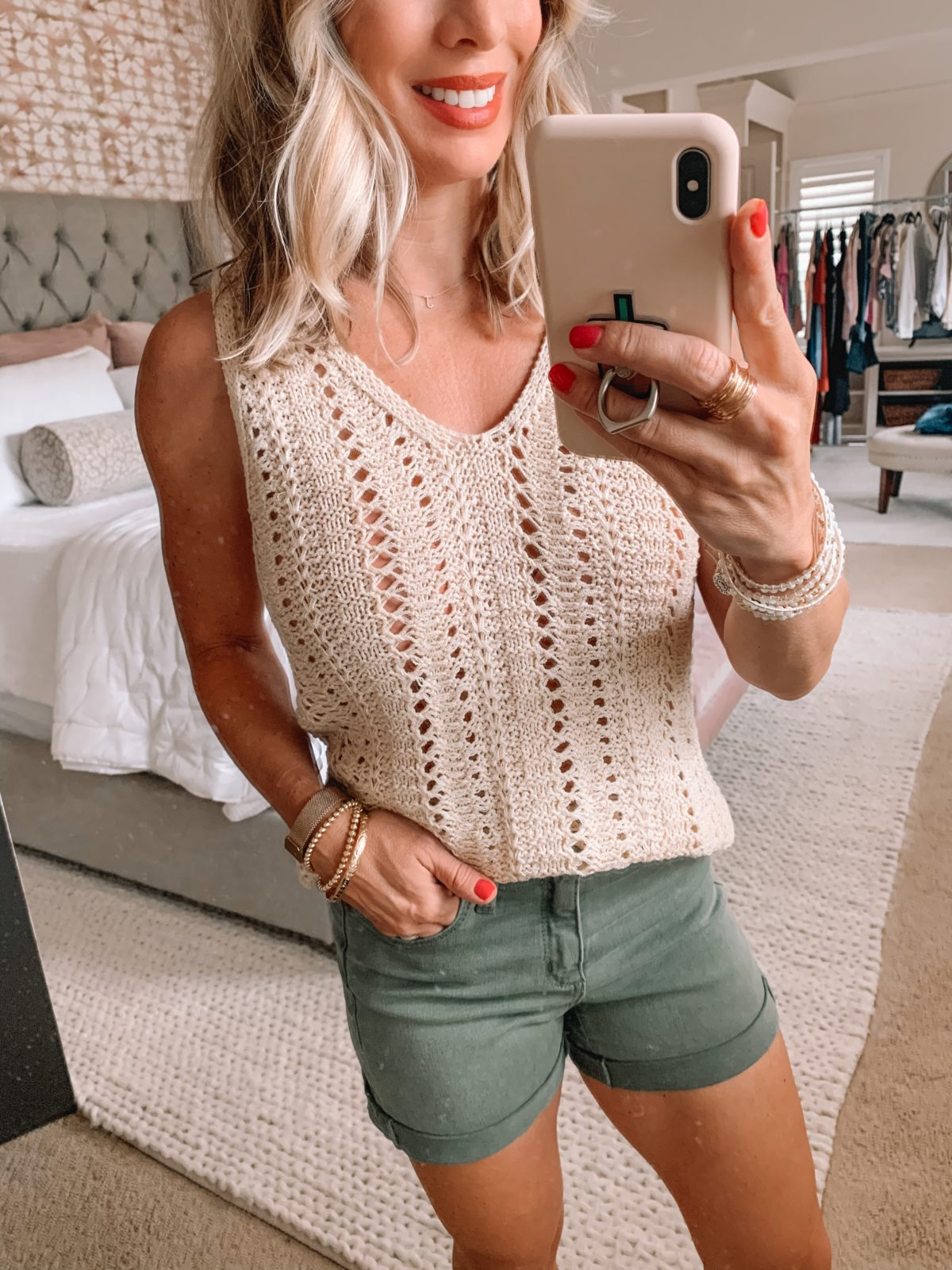 Dressing Room Finds Nordstrom and Target, Olive Denim Shorts