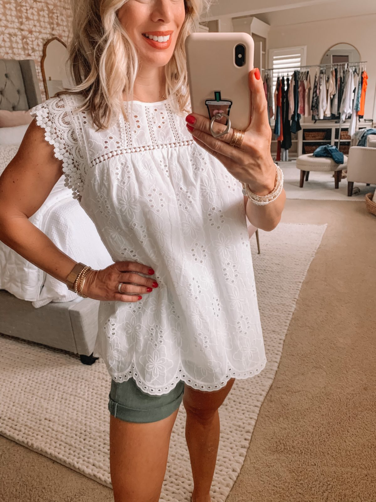 Dressing Room Finds Nordstrom and Target, Eyelet Top, Olive Denim Shorts