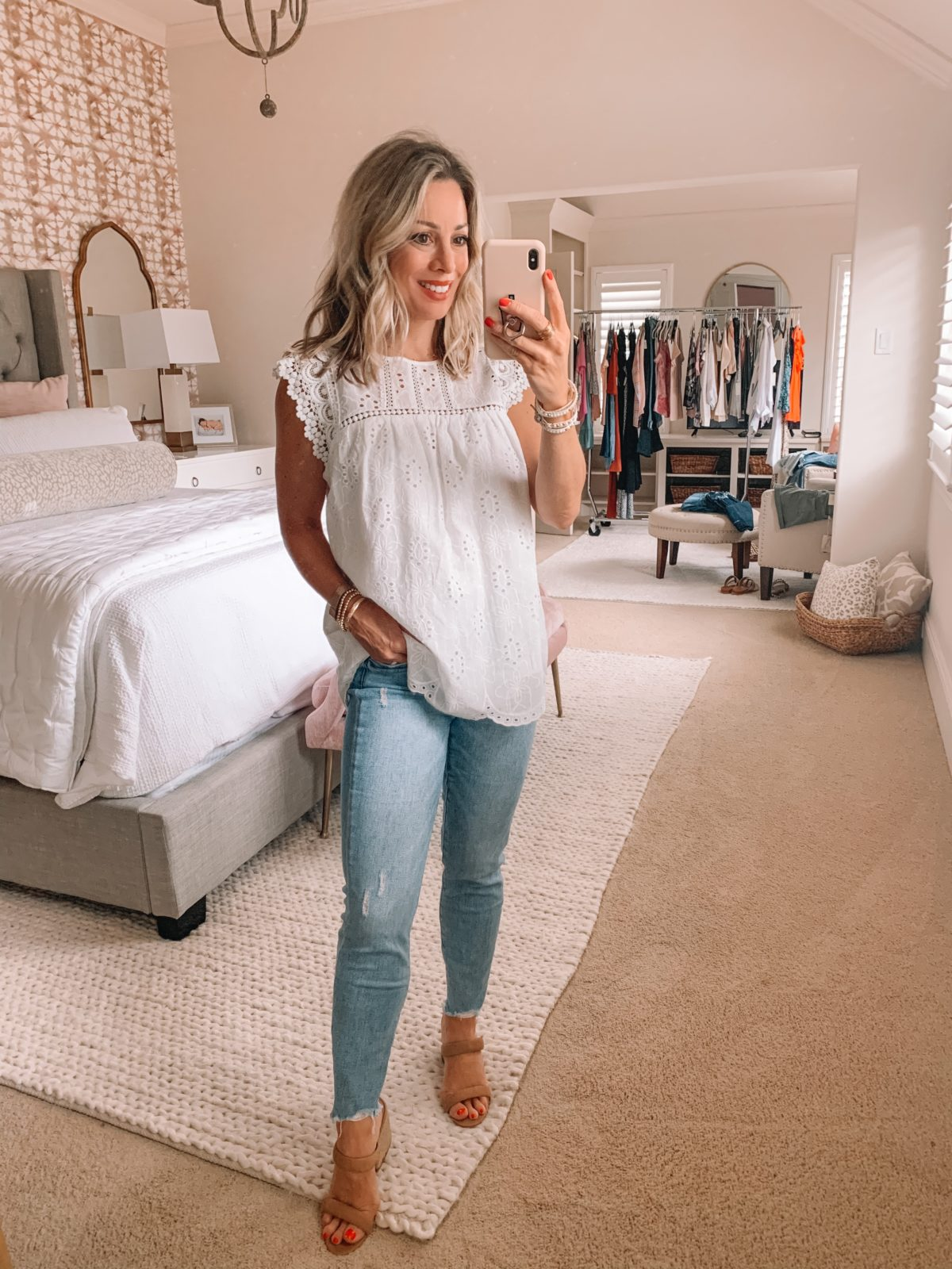 Dressing Room Finds Nordstrom and Target, White Eyelet Top, Skinny Jeans, Sandals