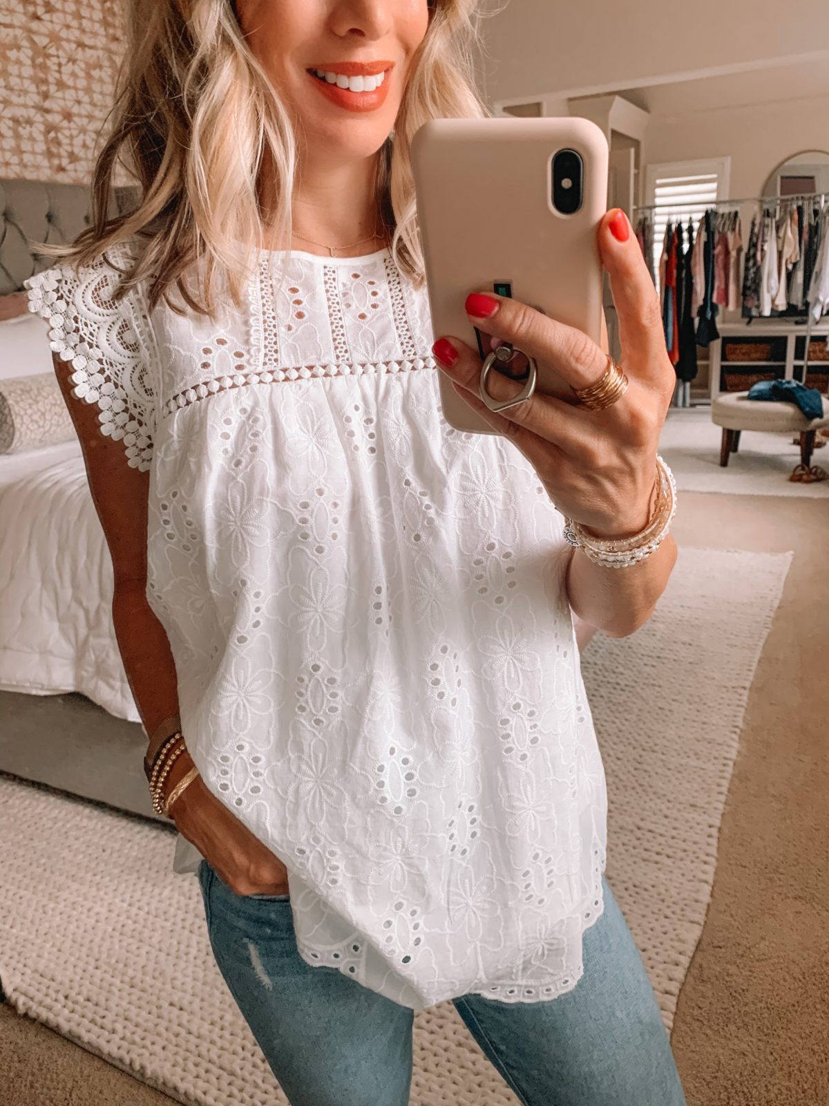 Dressing Room Finds Nordstrom and Target, White Eyelet Top, Skinny Jeans