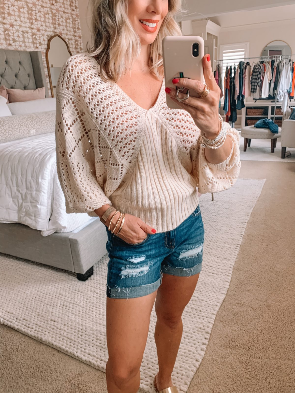 Dressing Room Finds Nordstrom and Target, Sweater, Denim Shorts, Gold Sandals