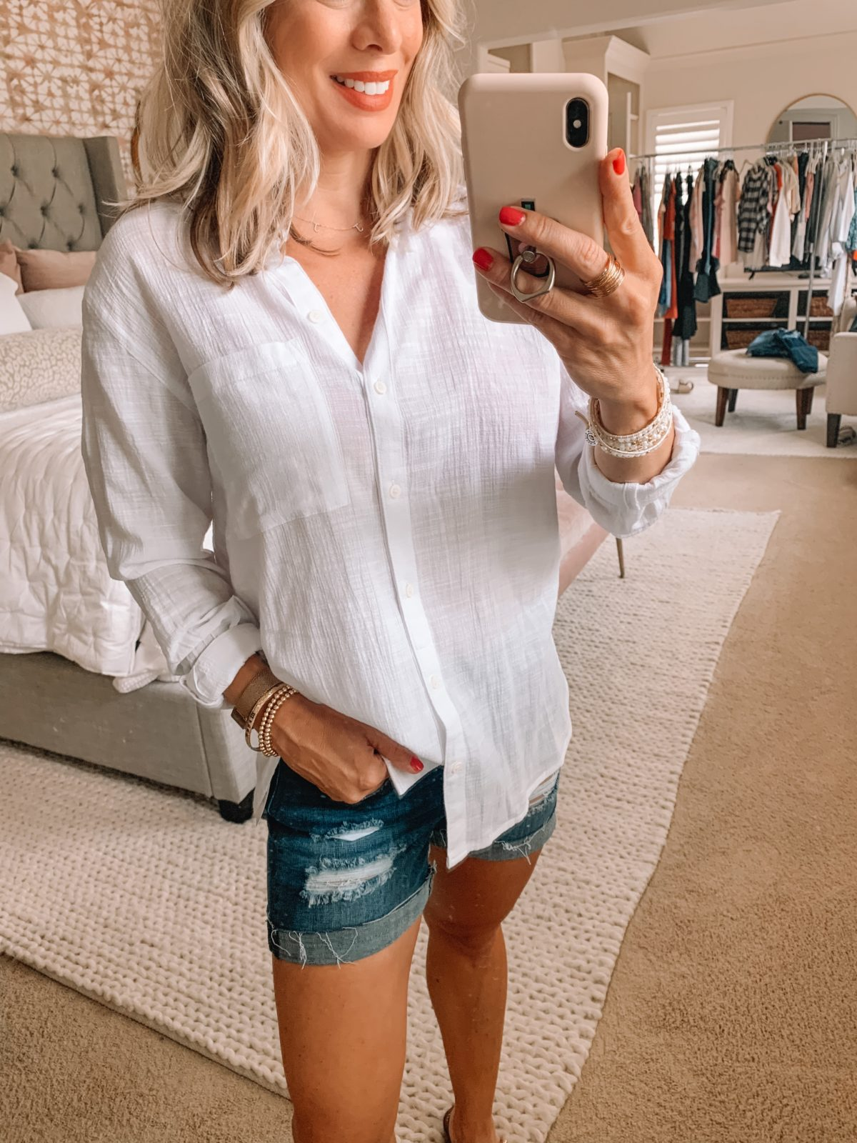 Dressing Room Finds Nordstrom and Target, White Button Down, Denim Shorts, Studded Sandals