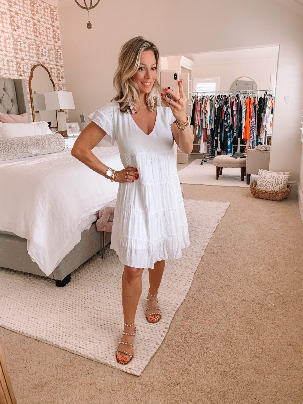 Dressing Room Finds Nordstrom and Target, V-Neck Baby Doll Dress, Studded Sandals