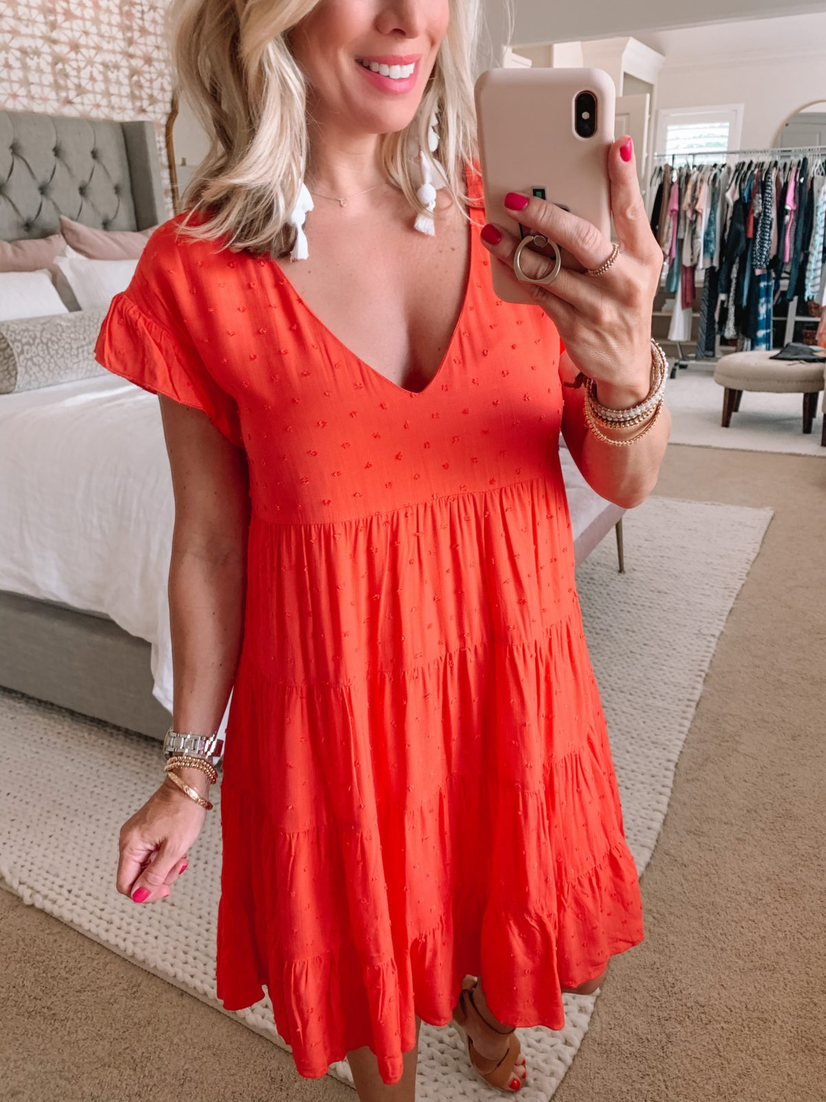 Dressing Room Finds Nordstrom and Target, Clip Dot V-Neck Baby Doll Dress, Sandals