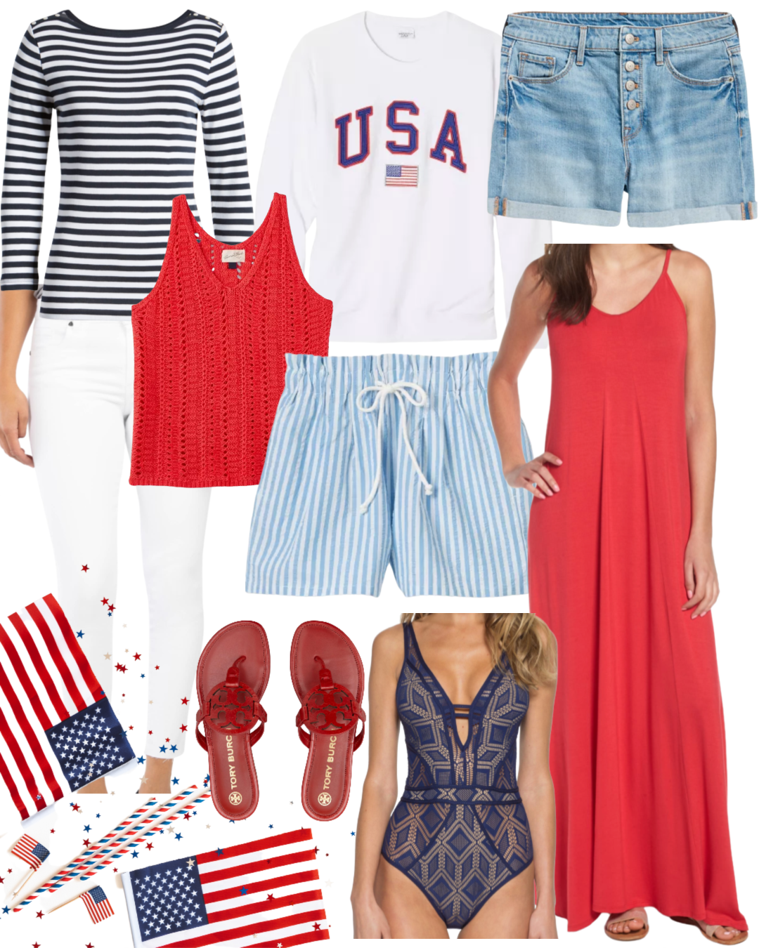 Dressing Room Finds Nordstrom and Target, Fourth of July Finds, Striped Top, USA Top, Shorts, Striped Shorts, Maxi Dress, Sweater Tank, Miller Sandals, Becca Swimsuit