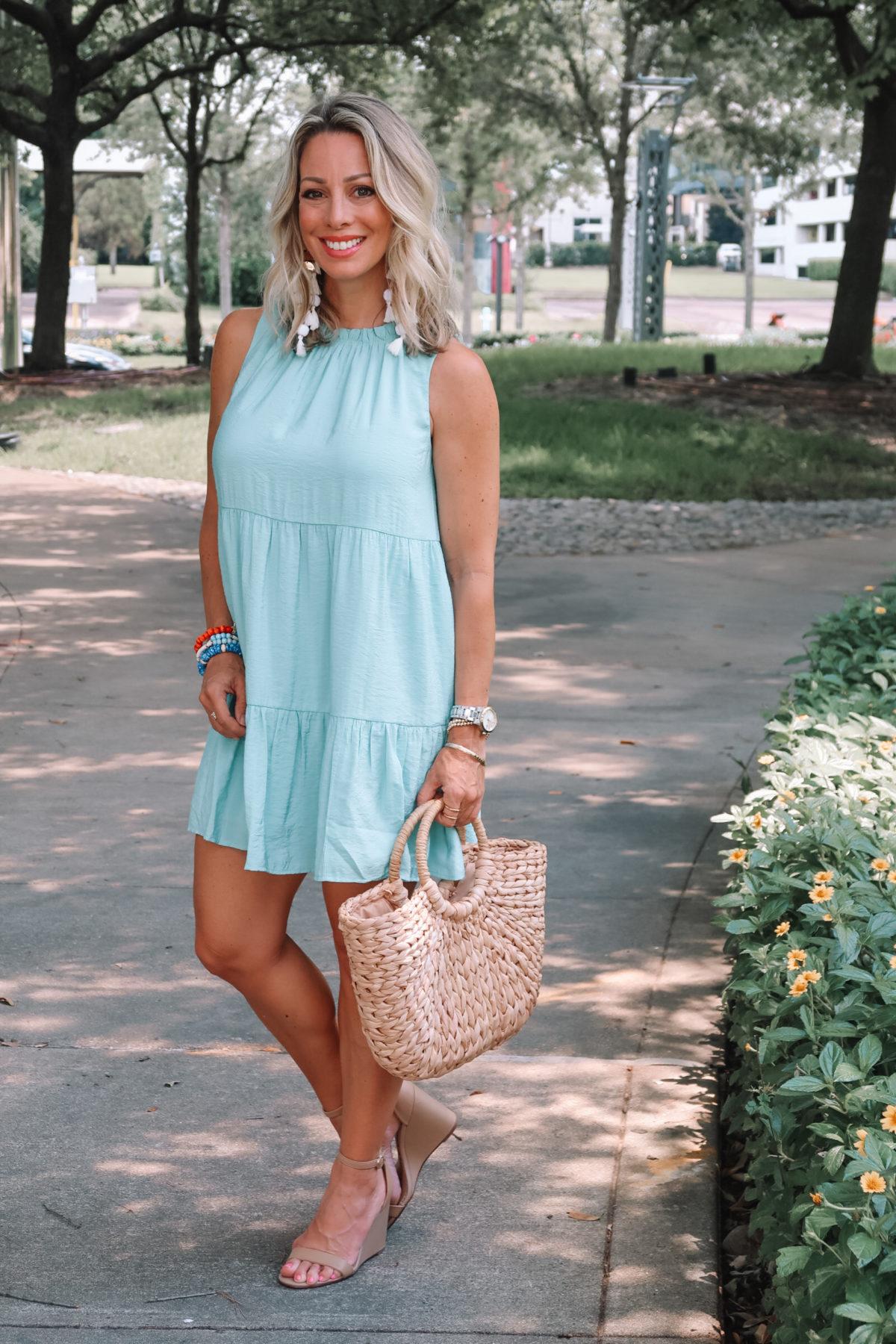 Aqua Tiered Dress