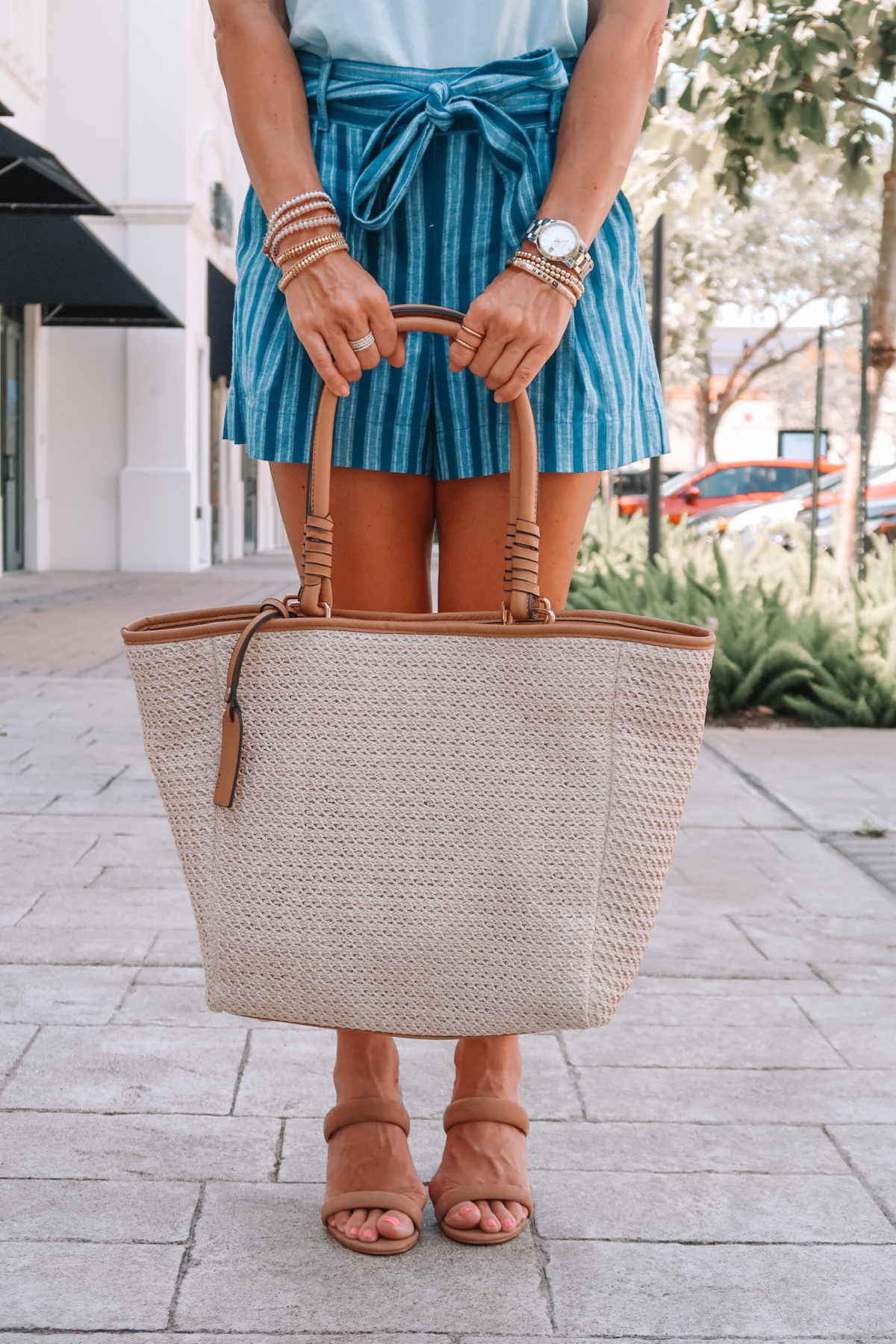 Light Blue Top, Blue Stripe Tie Waist Shorts, Sole Society Woven Tote Bag, Sandals