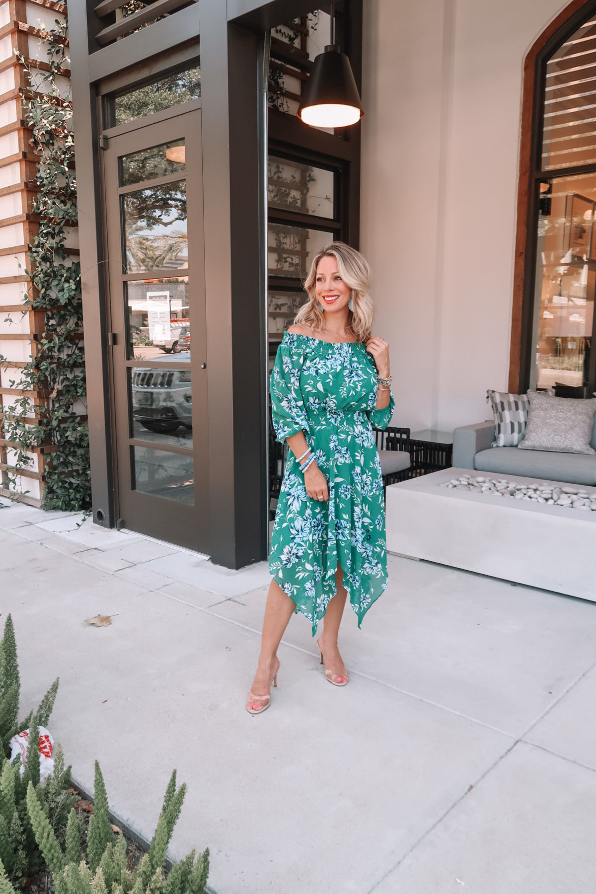 Green Floral Off the Shoulder Midi Dress, Clear Heels