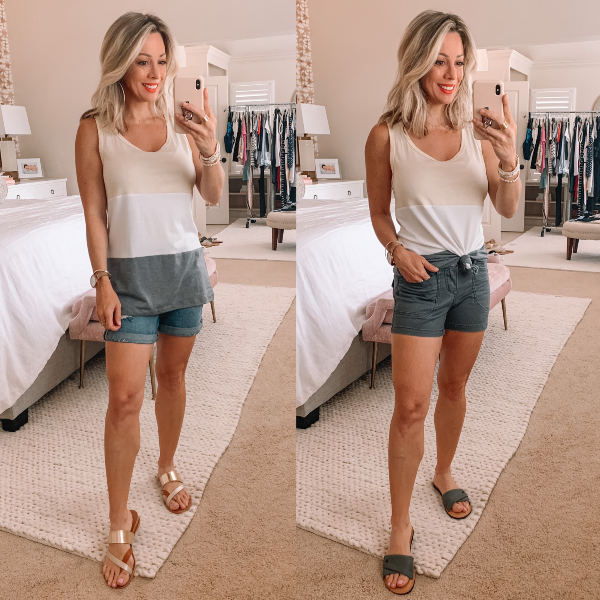 Amazon Fashion Finds, Colorblock Tank, Denim Shorts, Board Shorts, Strappy Sandals, Slide Sandals