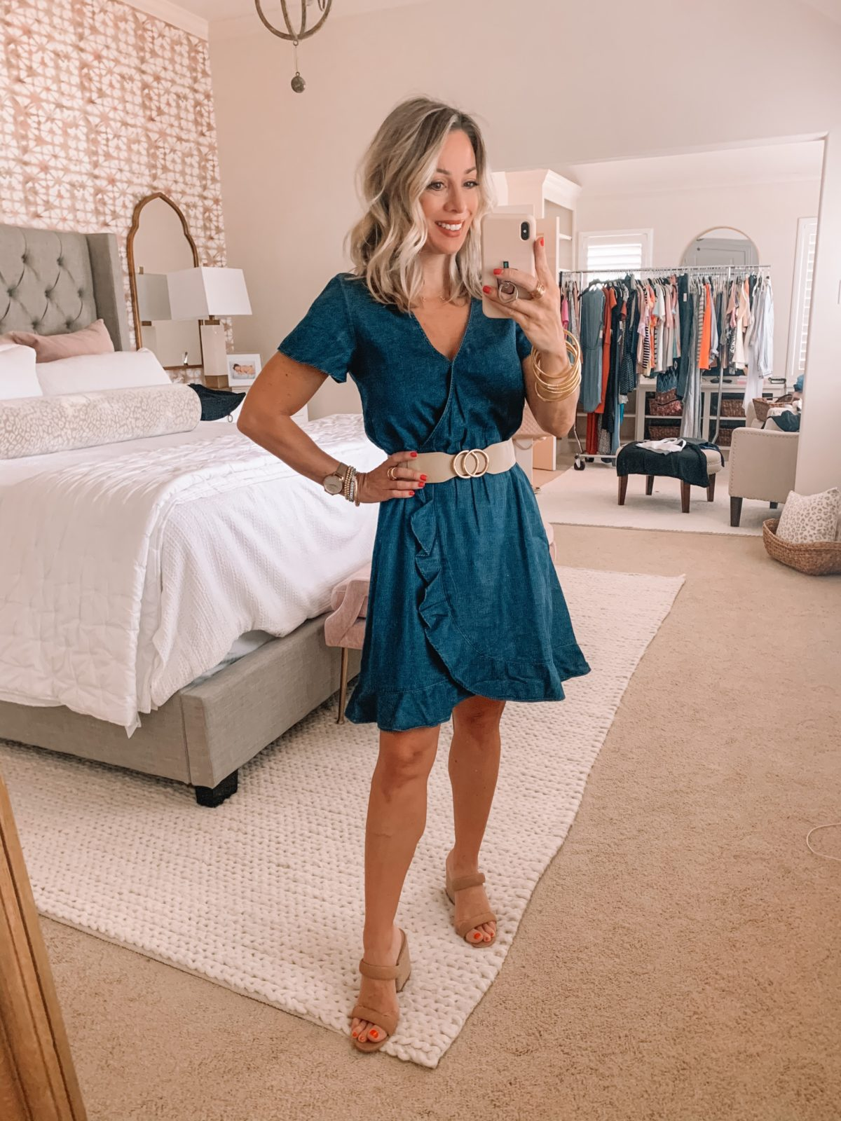 Amazon Fashion Finds, Denim Ruffle Dress, Sandals