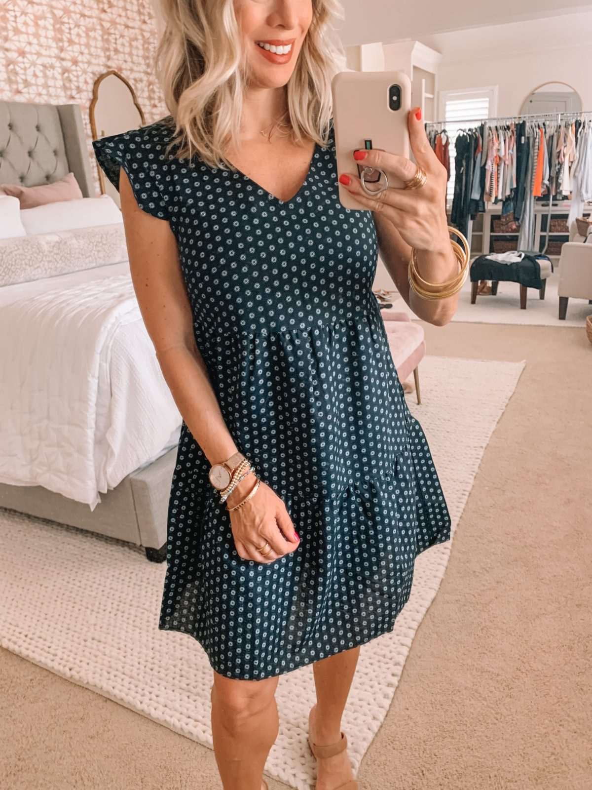 Amazon Fashion Finds, Ruffle Sleeve Dot Print Dress, Sandals