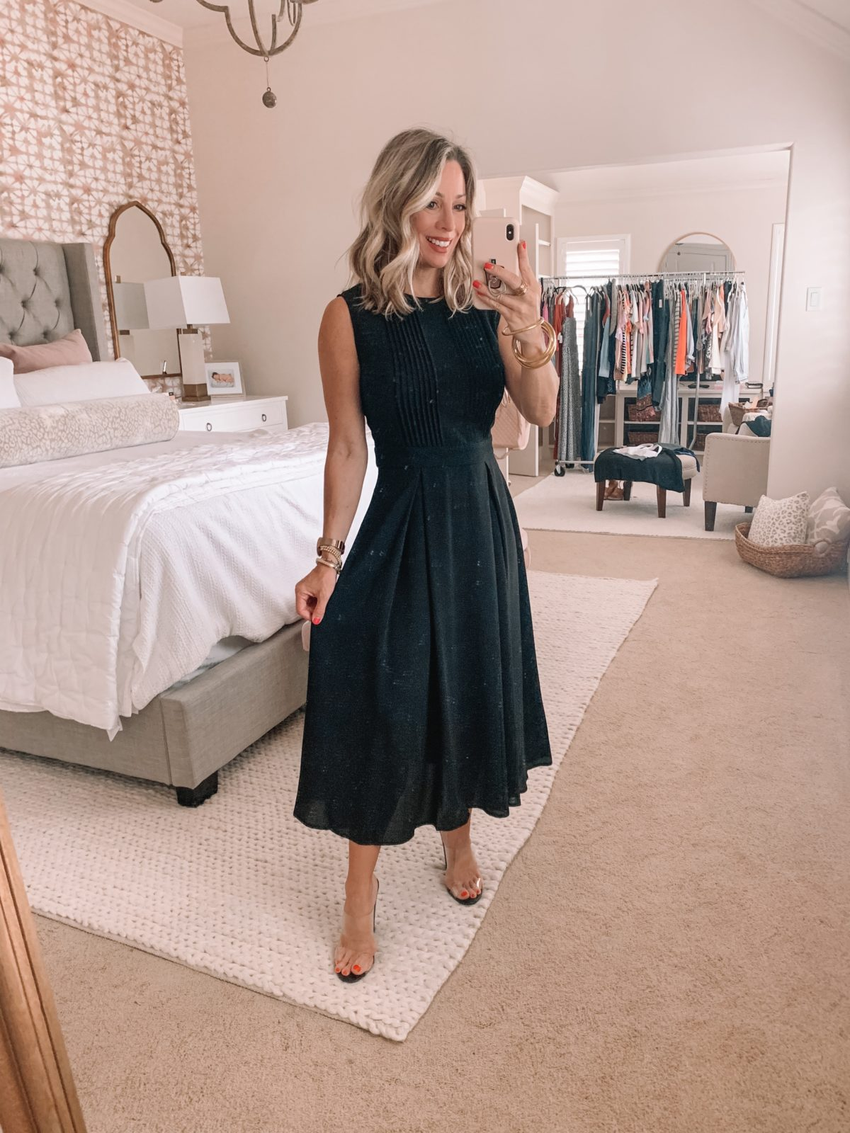 Amazon Fashion Finds, Black Crew Neck A Line Dress, Clear Sandals