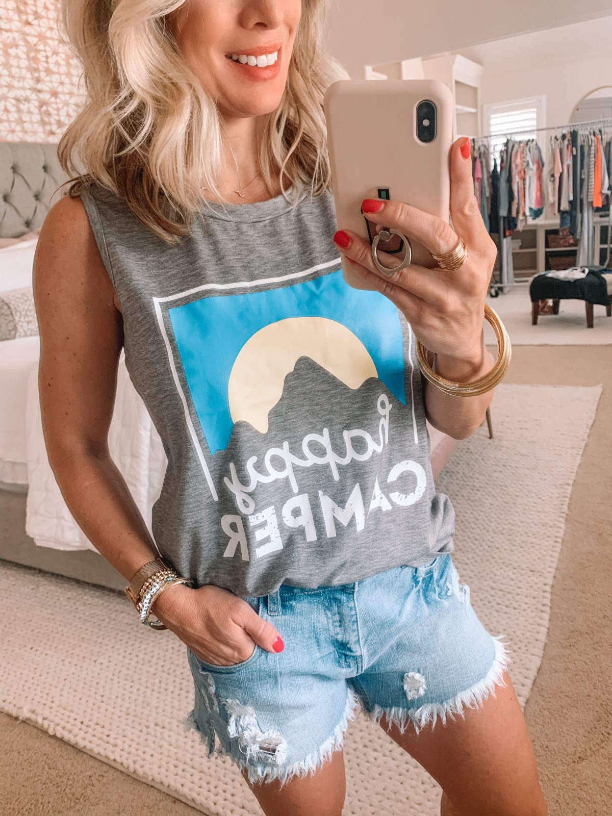 Amazon Fashion Finds, Happy Camper Crew Neck Tank, Denim Shorts