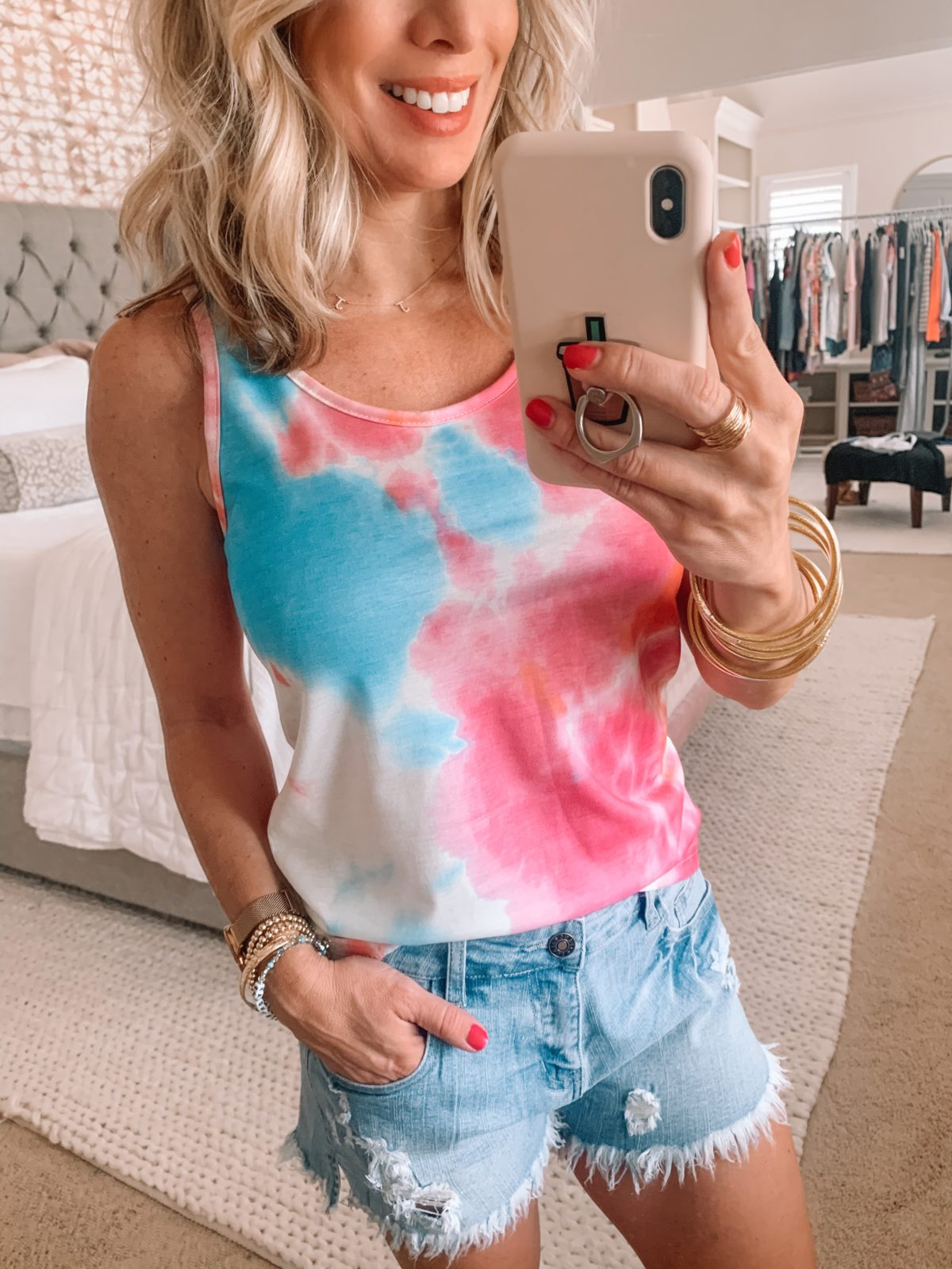 Amazon Fashion Finds, Tie Dye Tank, Denim Distressed Shorts
