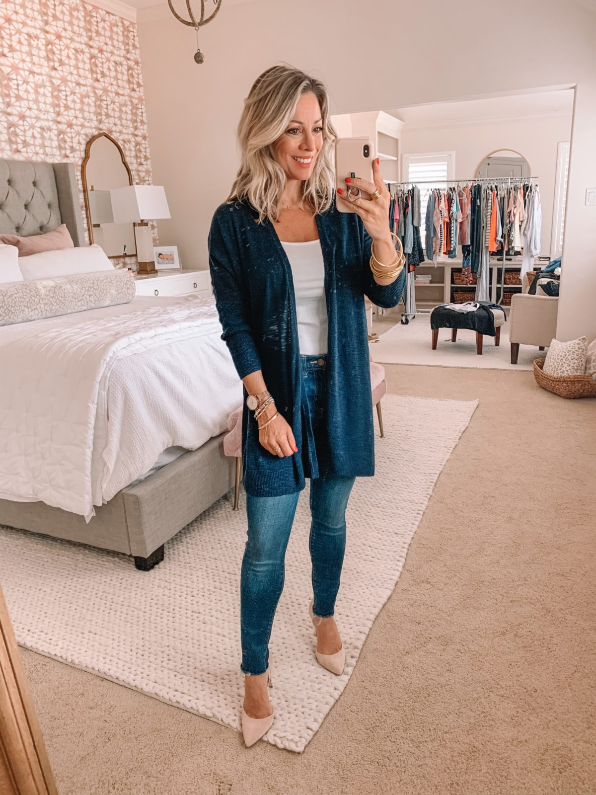 Amazon Fashion Finds, Jeans, Navy Cardigan, Heels