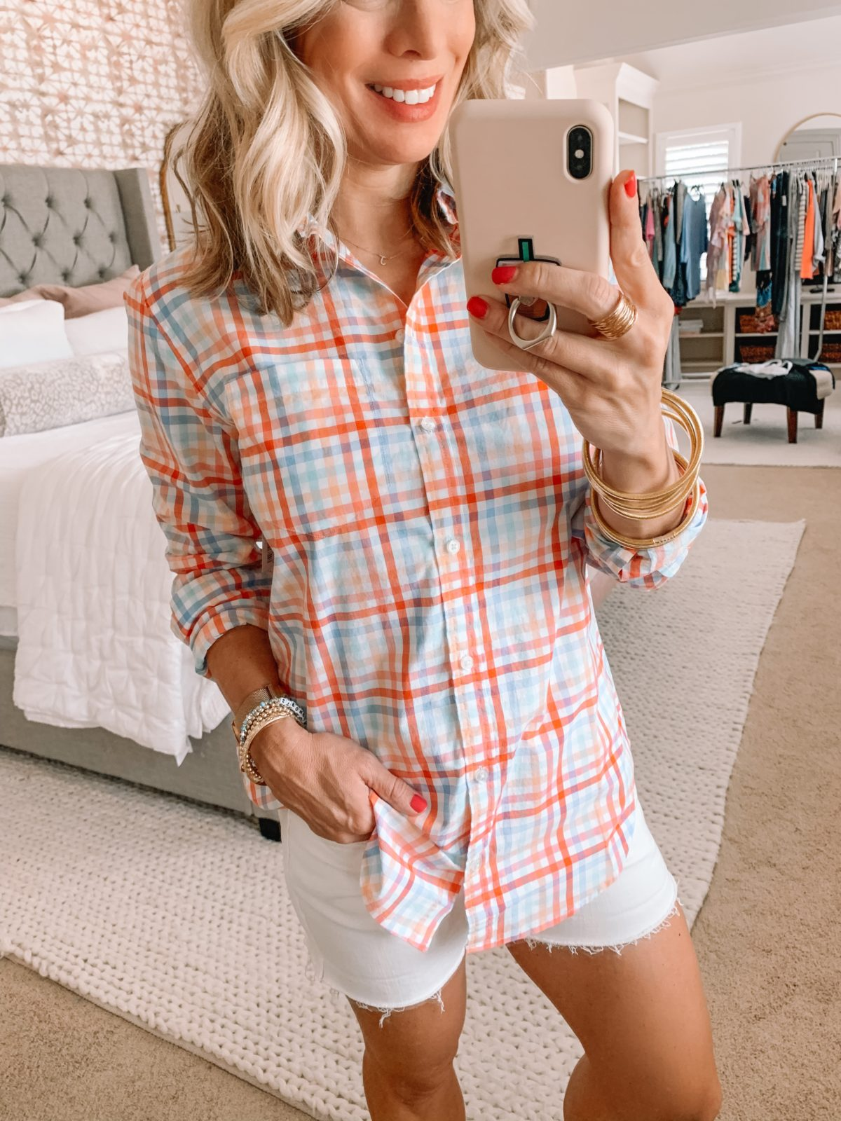 Amazon Fashion Finds, Rainbow Check Long Sleeved Top, White Denim Shorts